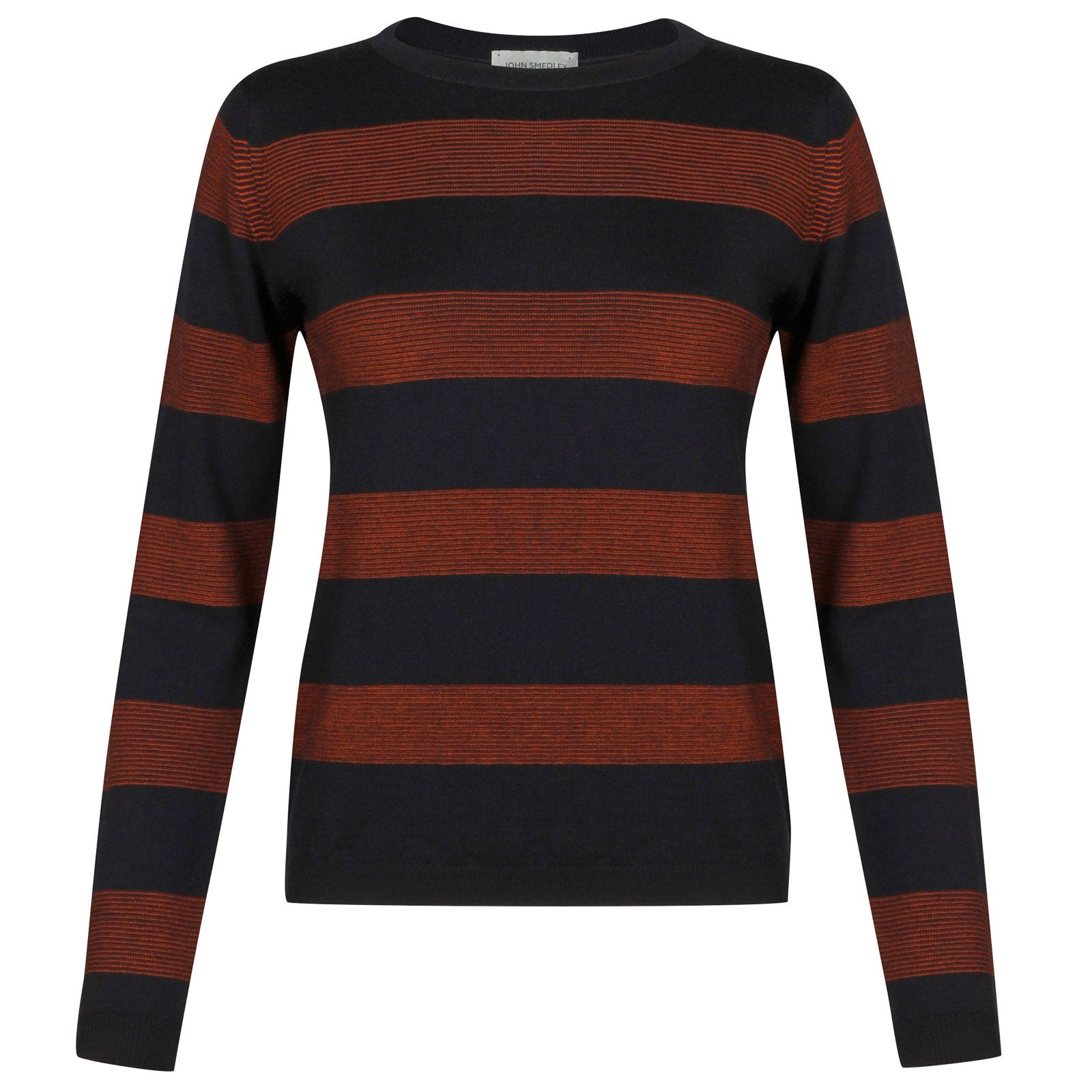 John Smedley larch Merino Wool Sweater in Midnight/Flare Orange-XL