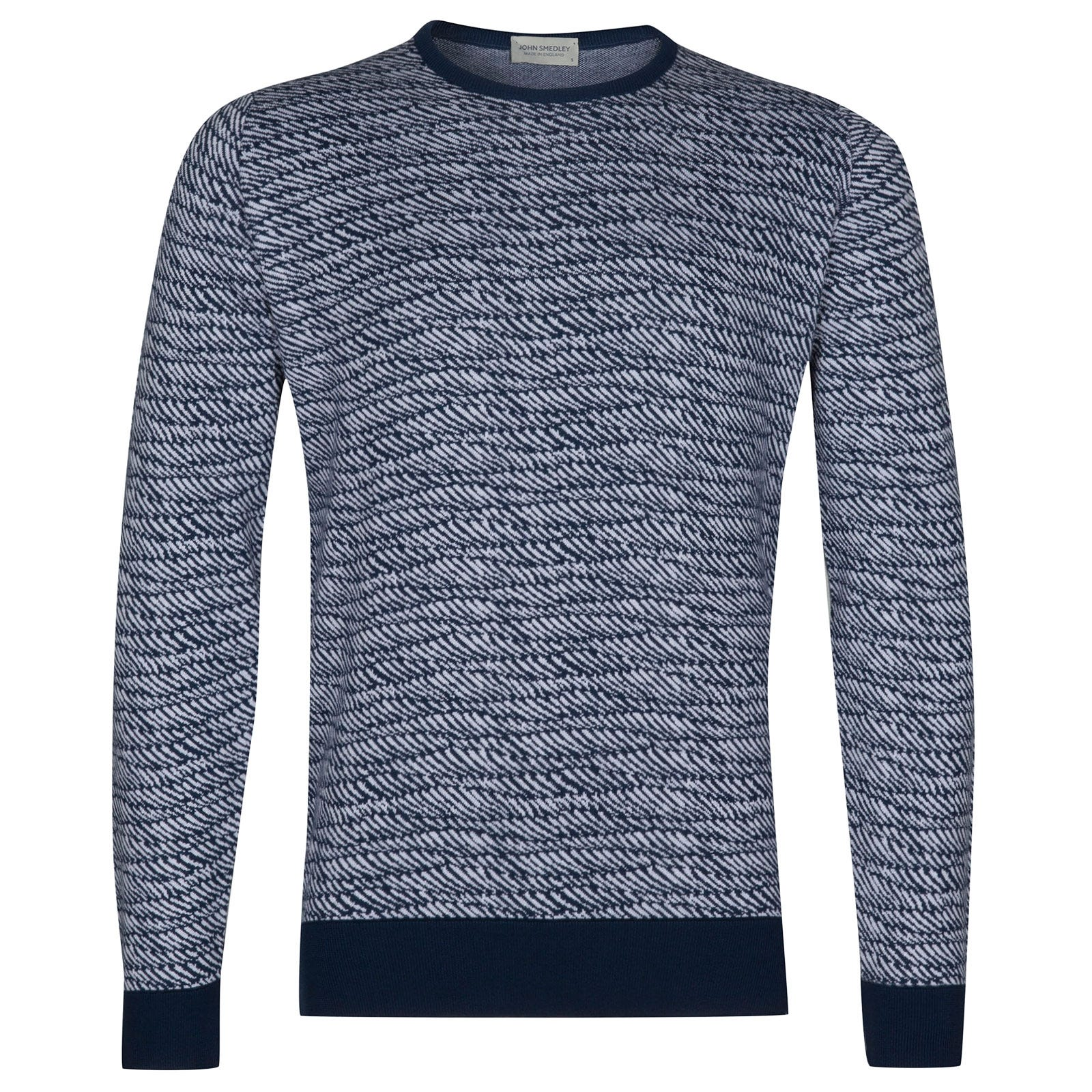 John Smedley Laxton Sea Island Cotton Polo Pullover in Indigo-XXL