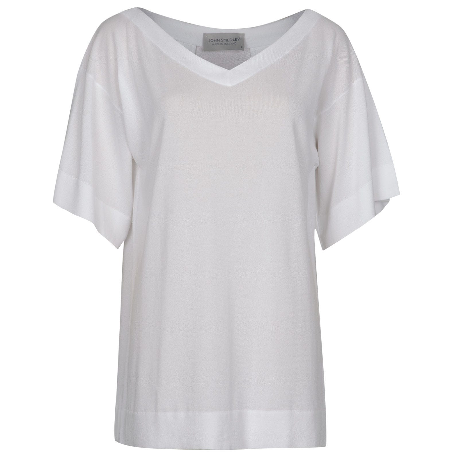John Smedley Lea Merino Wool T-shirt in White-XL