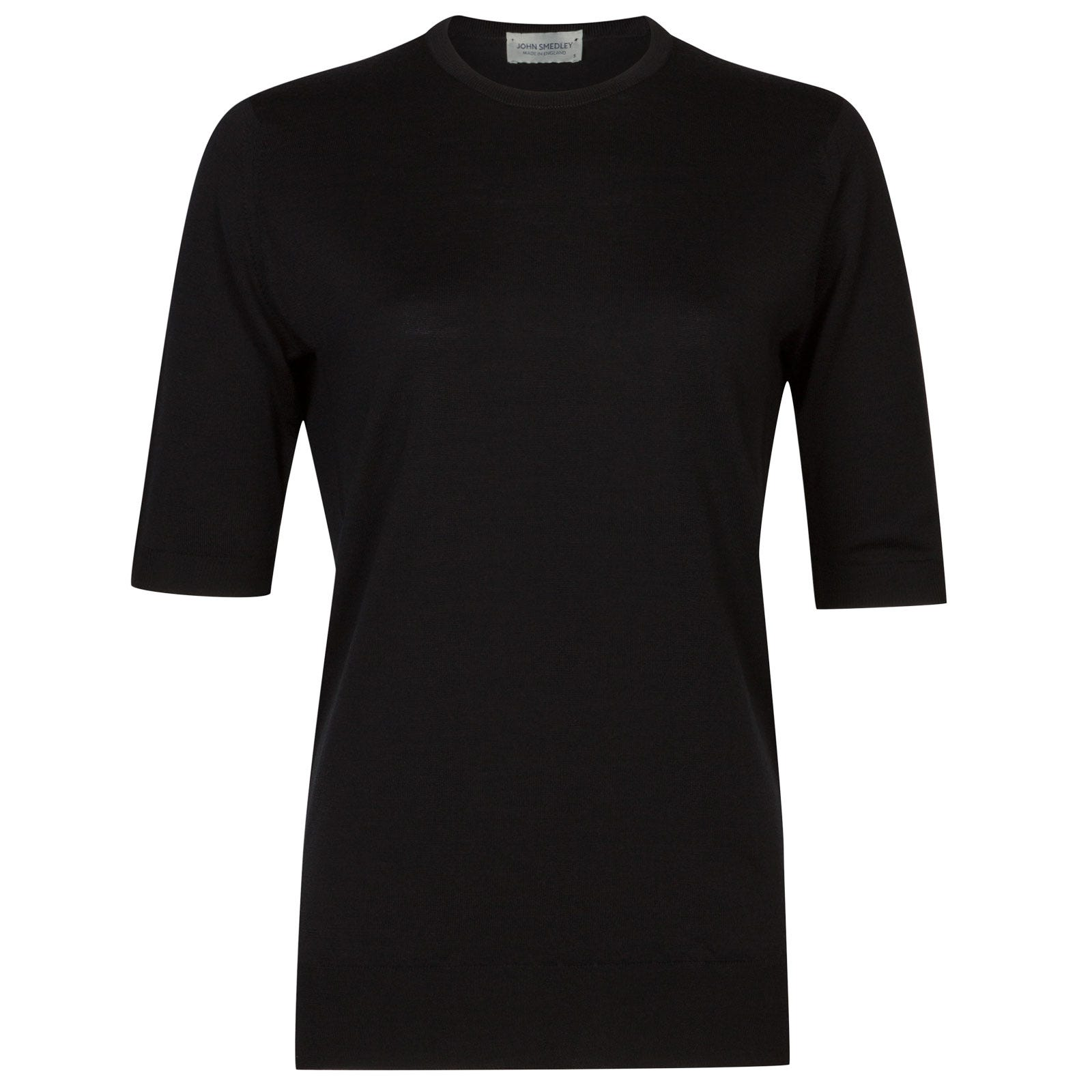 John Smedley lindley Merino Wool T-shirt in Black-S