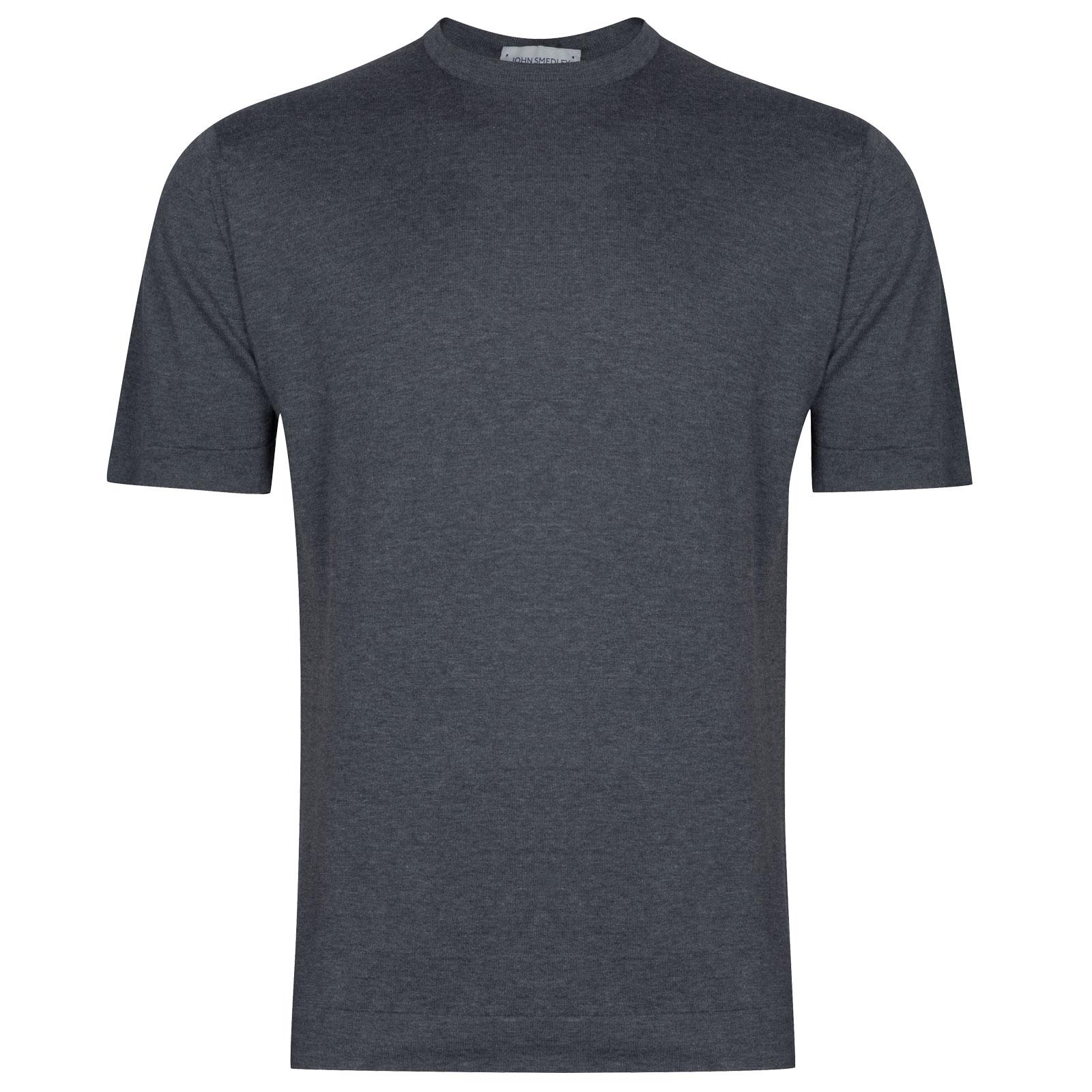 John Smedley Lorca in Charcoal T-Shirt-XLG