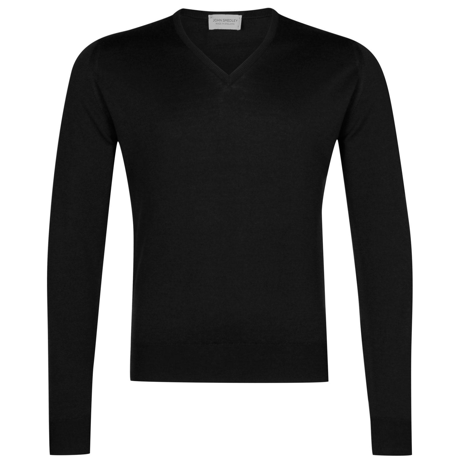 John Smedley Lugano Merino Wool Pullover in Black-M