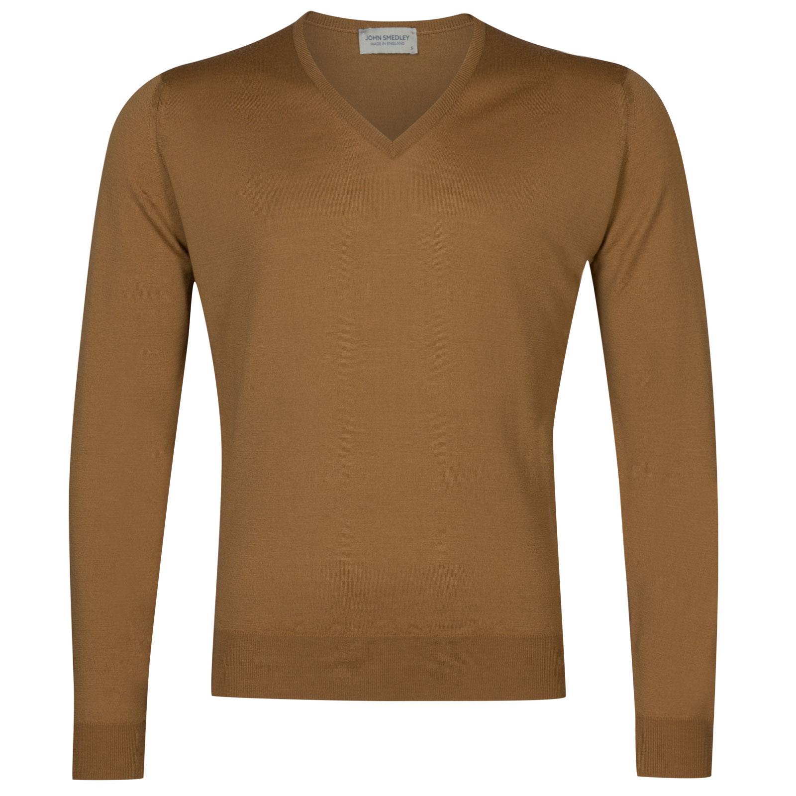 John Smedley Lugano Merino Wool Pullover in Camel-XXL