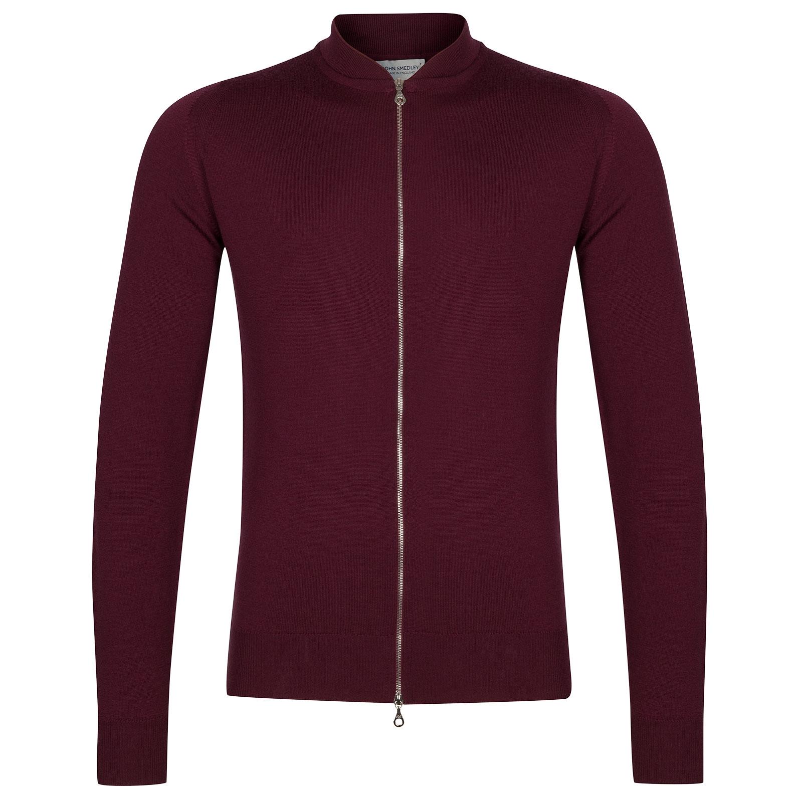 John Smedley Maclean Merino Wool Bomber Jacket in Bordeaux-XL
