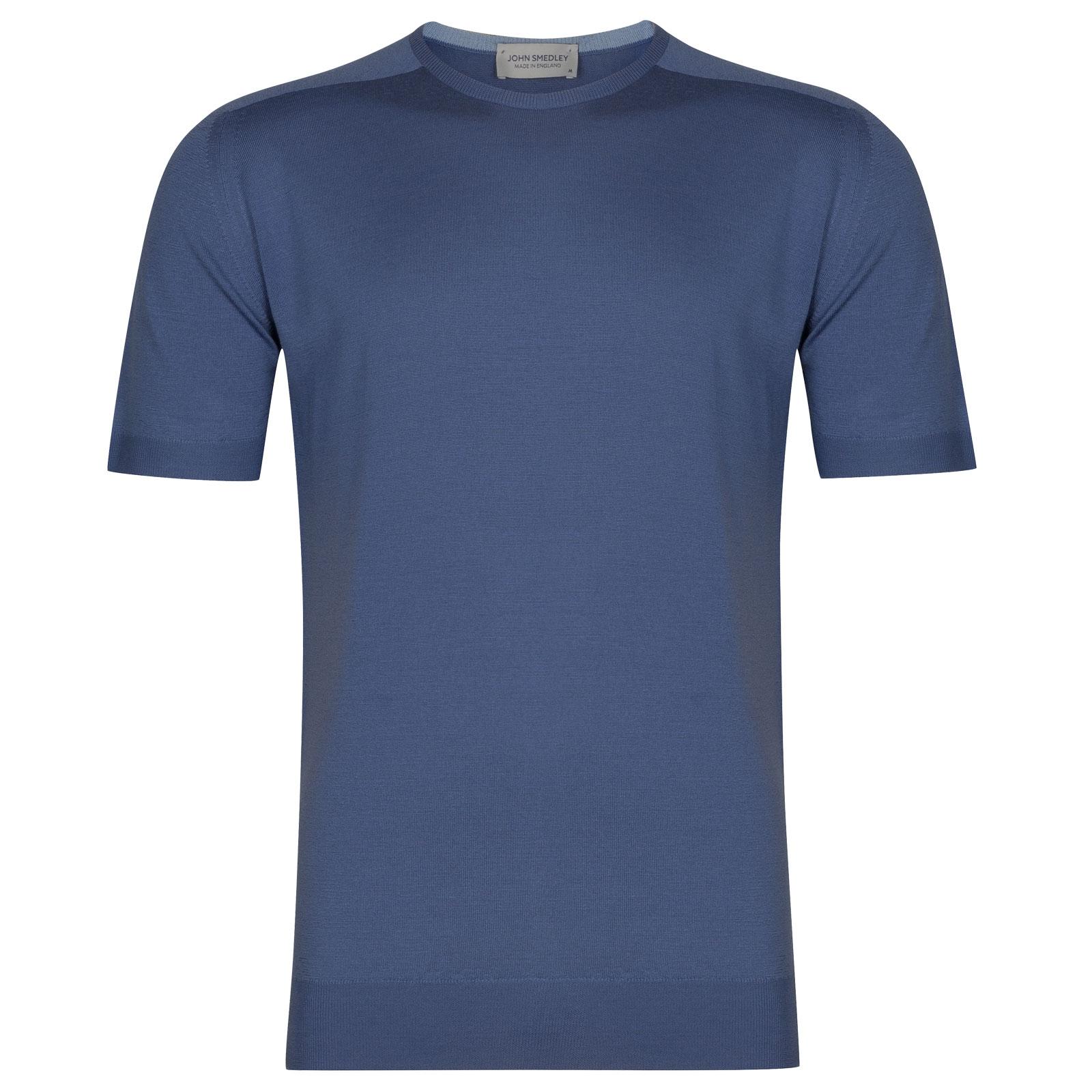 John Smedley Maro in Blue Iris T-Shirt-MED