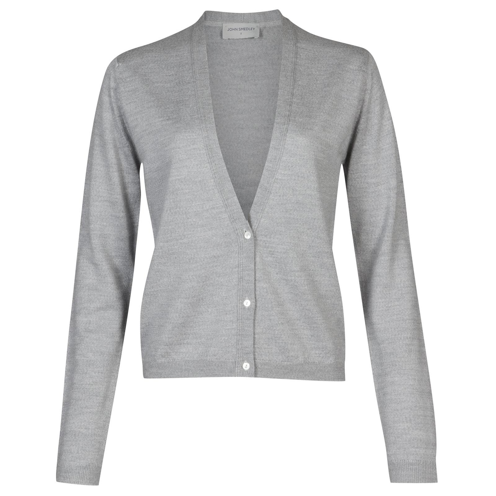 John Smedley minda Merino Wool Cardigan in Bardot Grey-XL