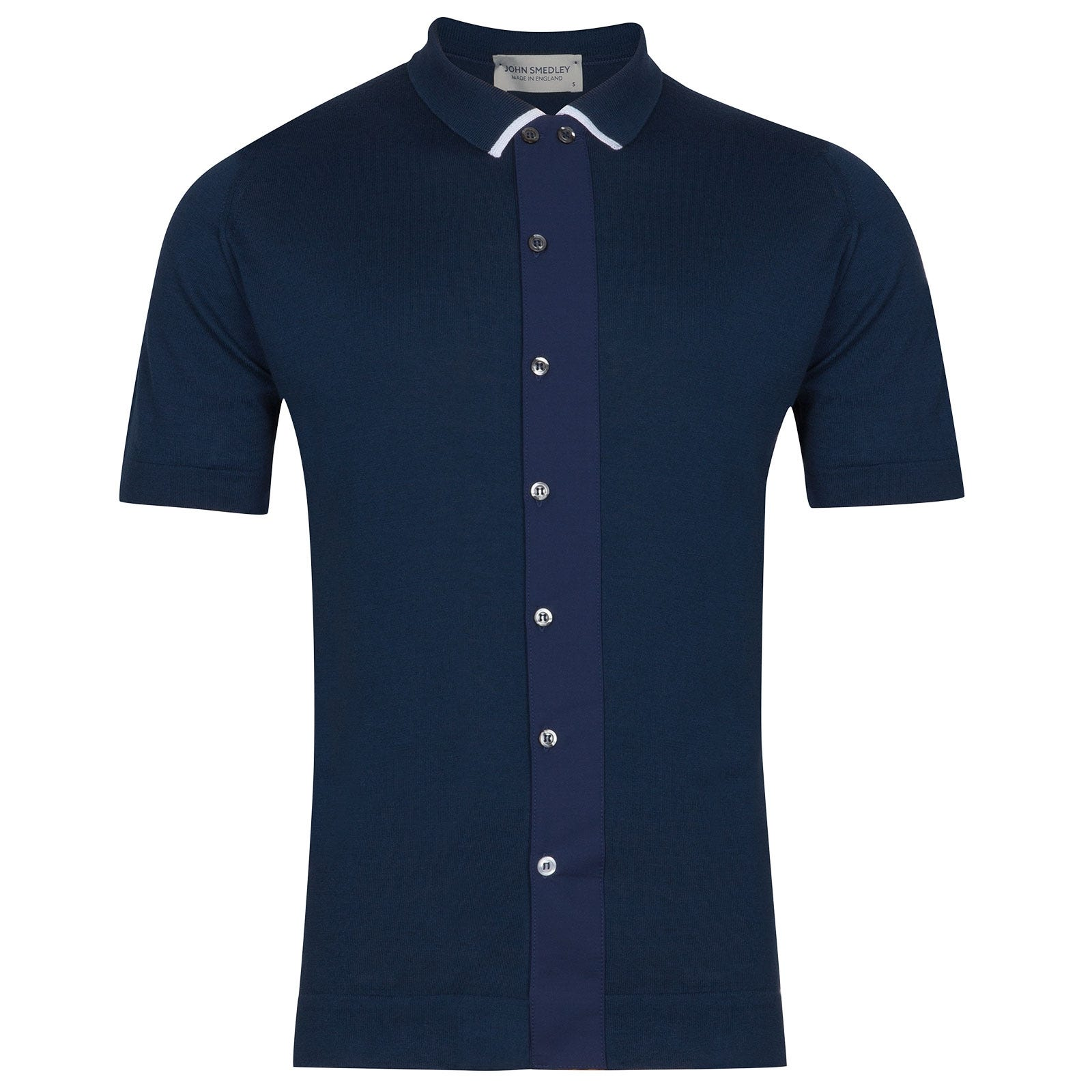 John Smedley molton Sea Island Cotton Polo Shirt in Indigo-XXL