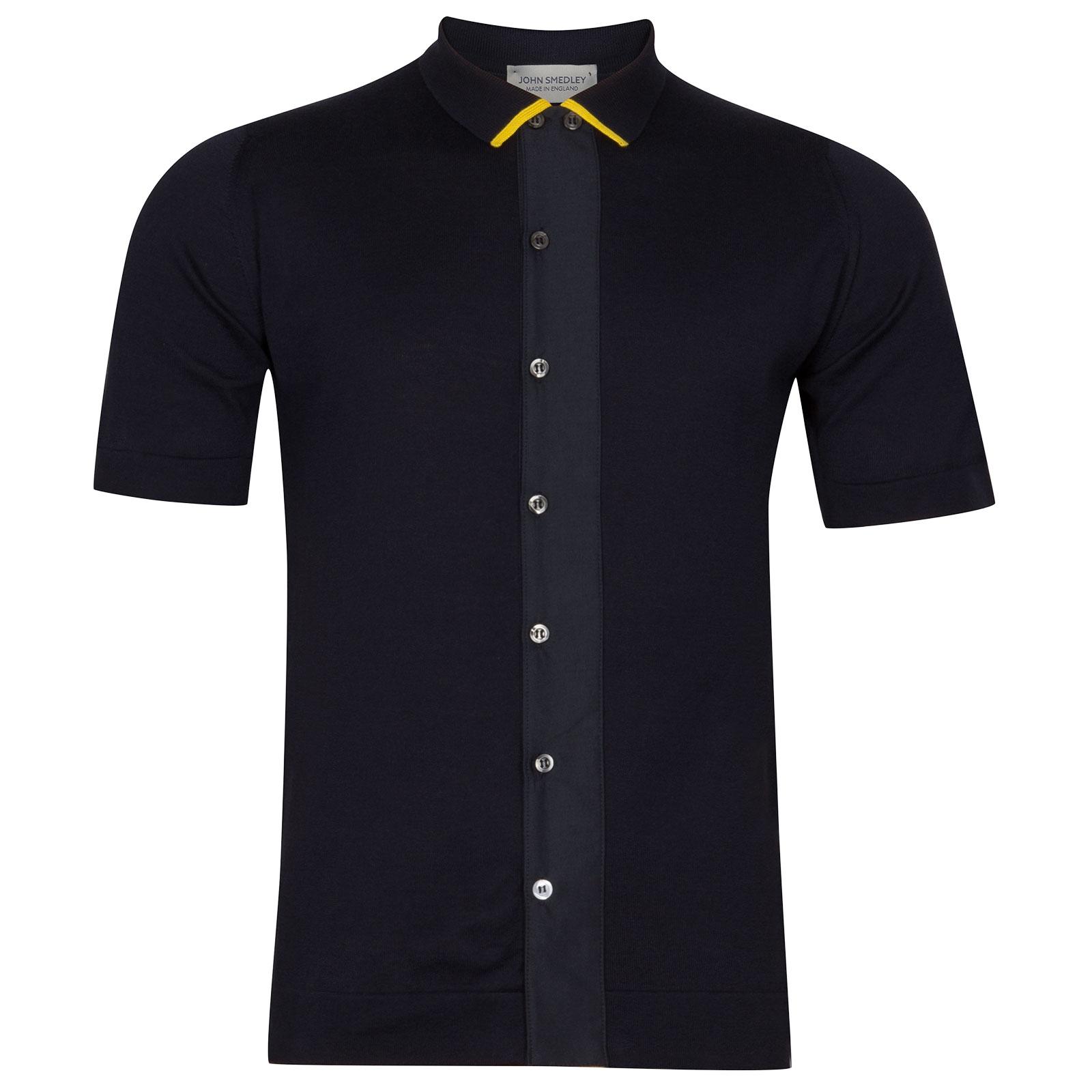 John Smedley molton Sea Island Cotton Polo Shirt in Navy-SML