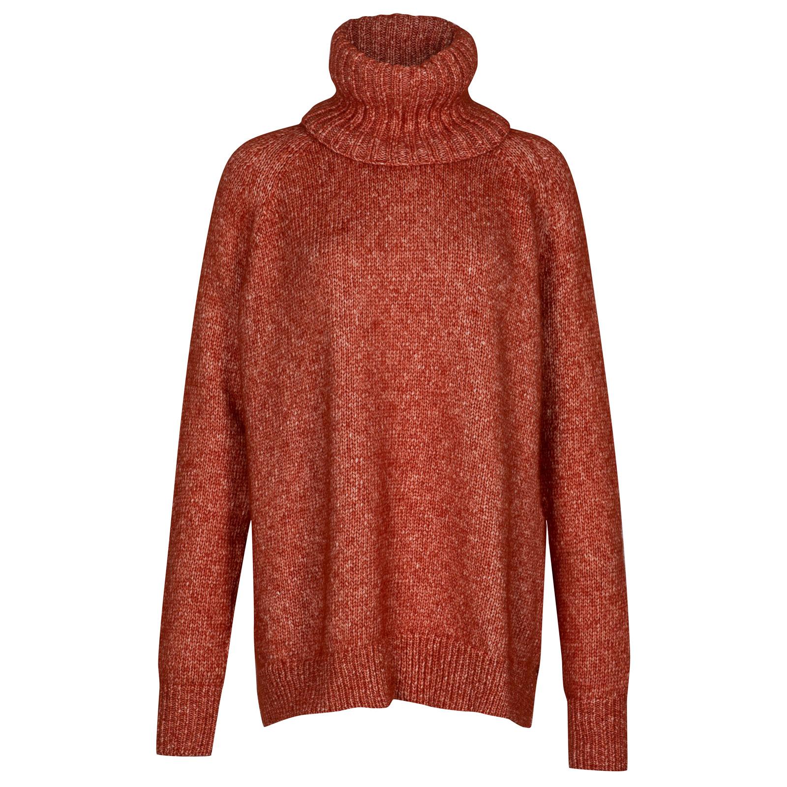 John Smedley Morar Alpaca, Wool & Cotton Sweater in Flare Orange-L
