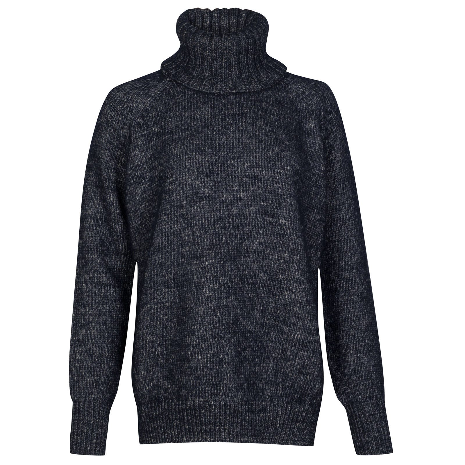 John Smedley morar Alpaca, Wool & Cotton Sweater in Midnight-M