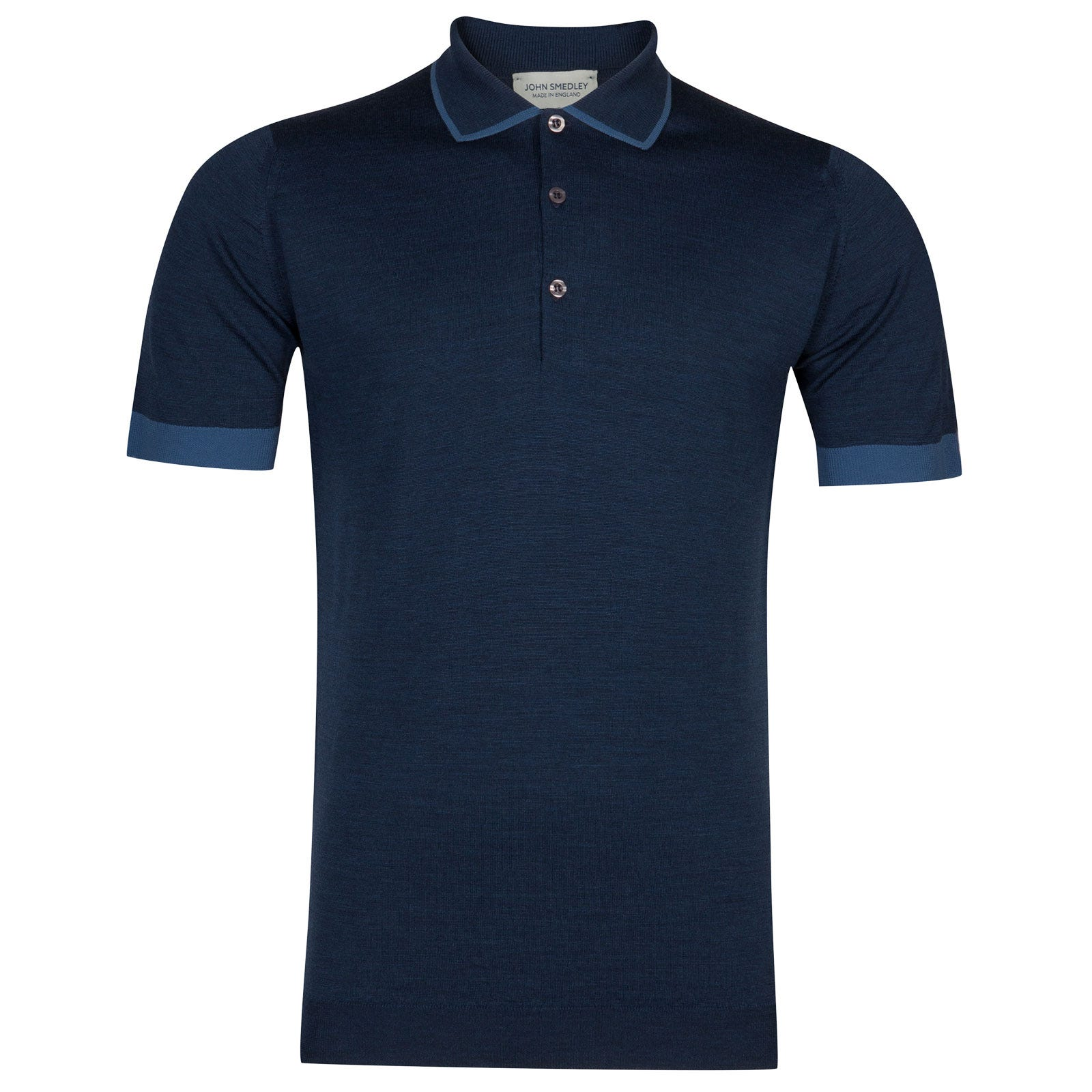 John Smedley nailsea Merino Wool Shirt in Indigo/Derwent Blue-XL