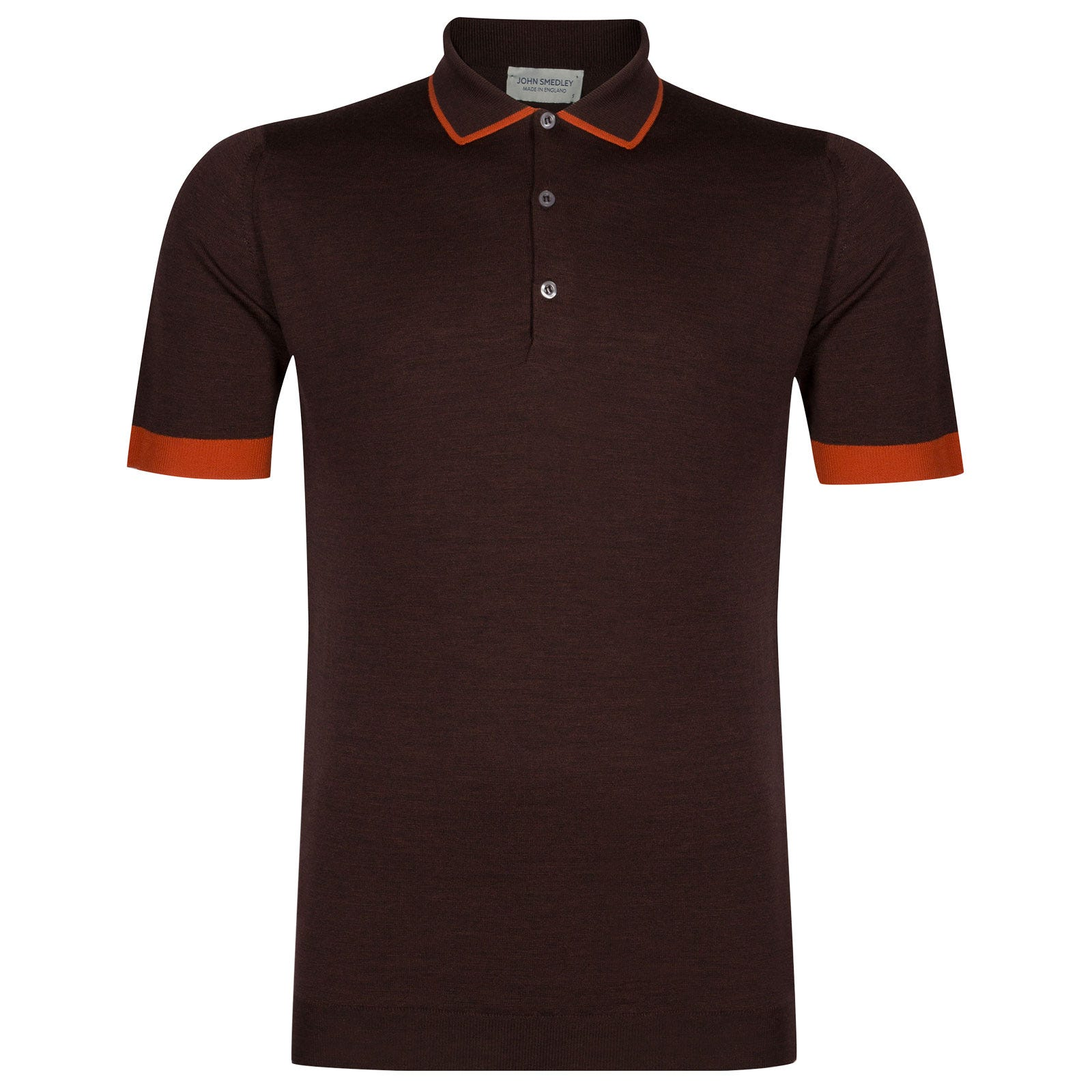 John Smedley nailsea Merino Wool Shirt in Chestnut/Flare Orange-M