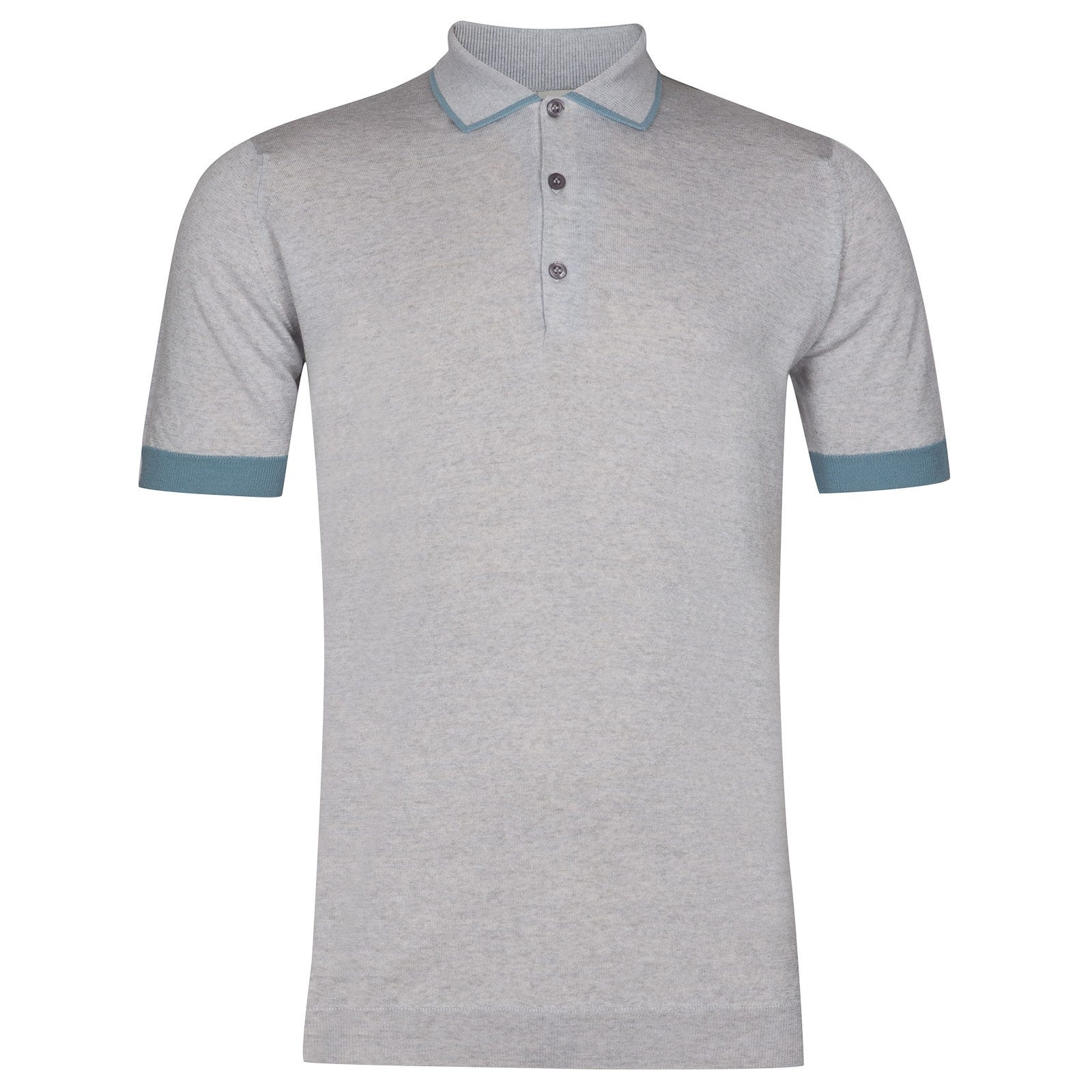 John Smedley nailsea Merino Wool Shirt in Bardot Grey/Summit Blue-L