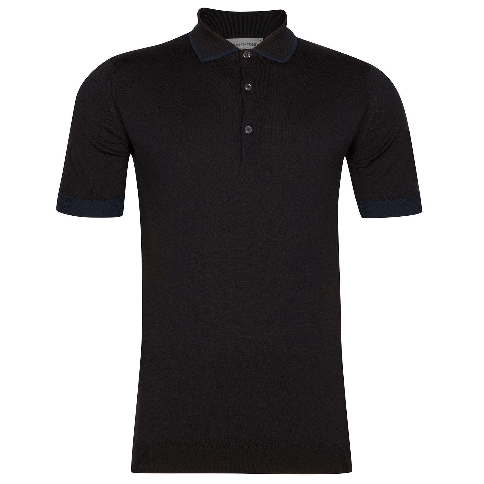 John Smedley nailsea Merino Wool Shirt in Black/Midnight-XL