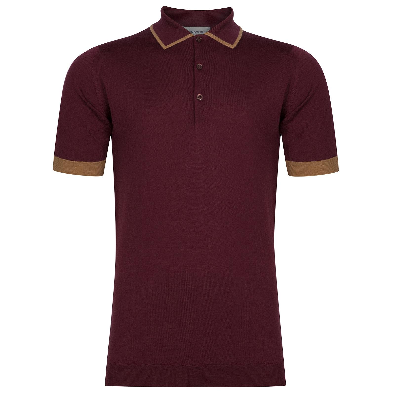 John Smedley Nailsea Extra Fine Merino Shirt in Bordeaux-S