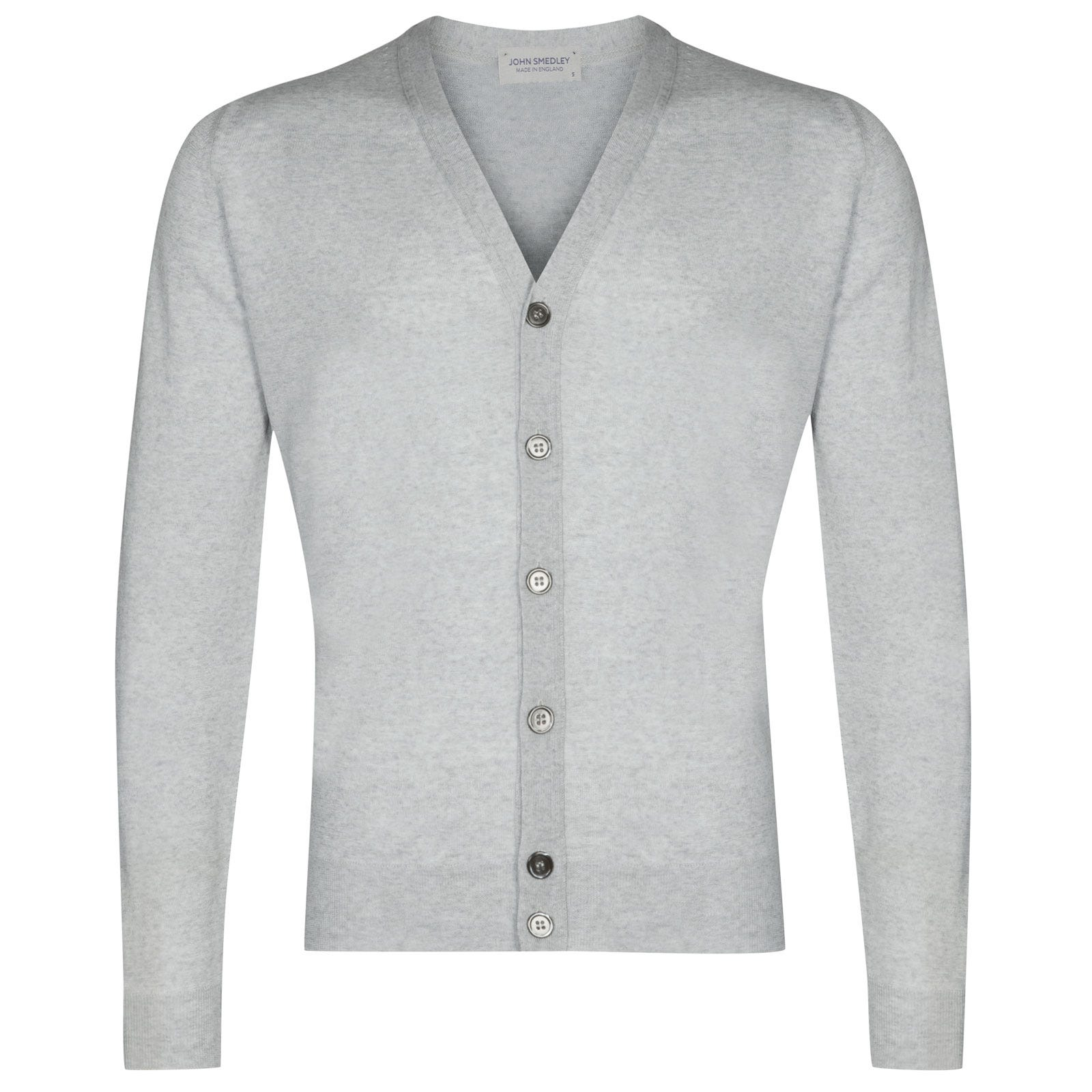 John Smedley naples Merino Wool Cardigan in Bardot Grey-M