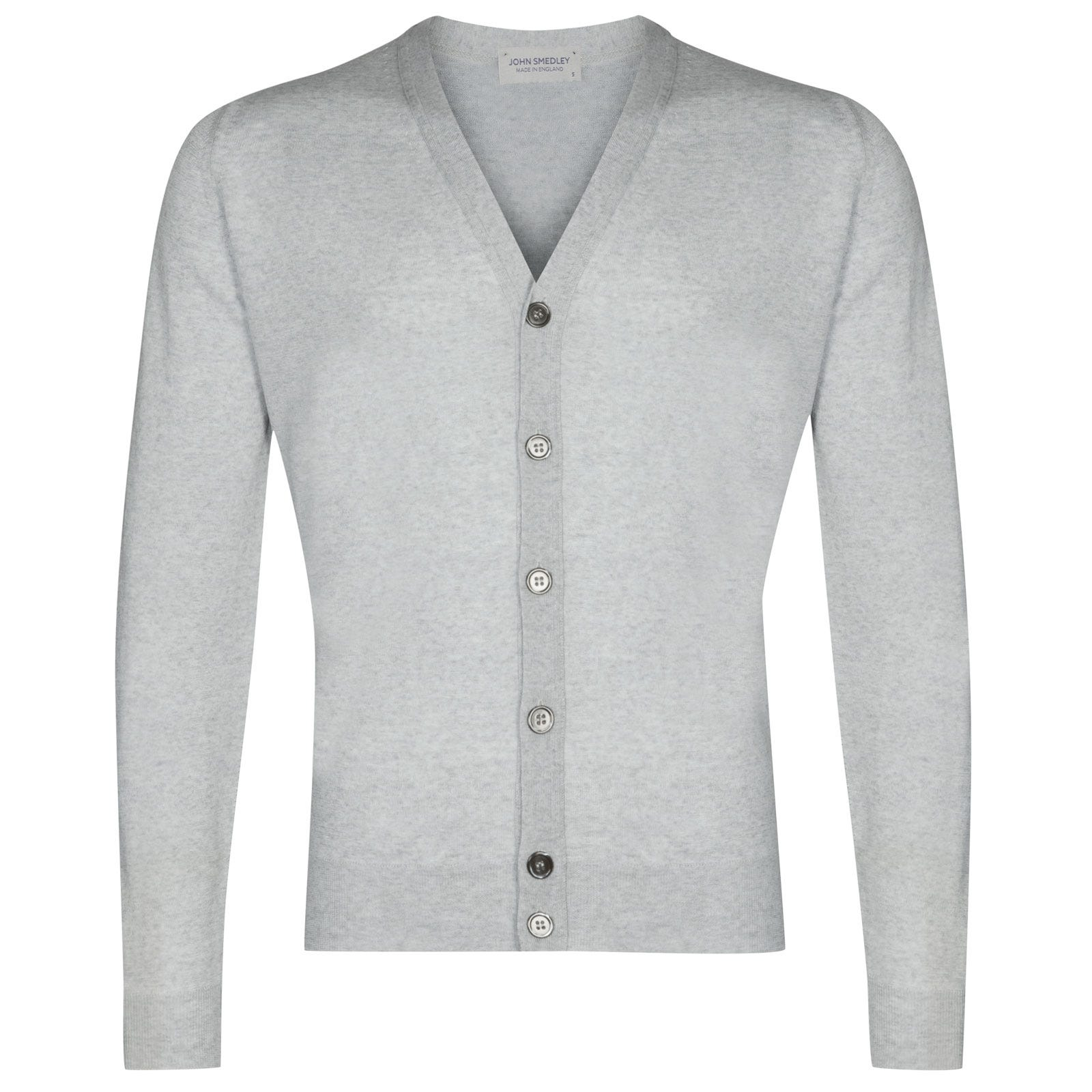John Smedley Naples Merino Wool Cardigan in Bardot Grey-XXL