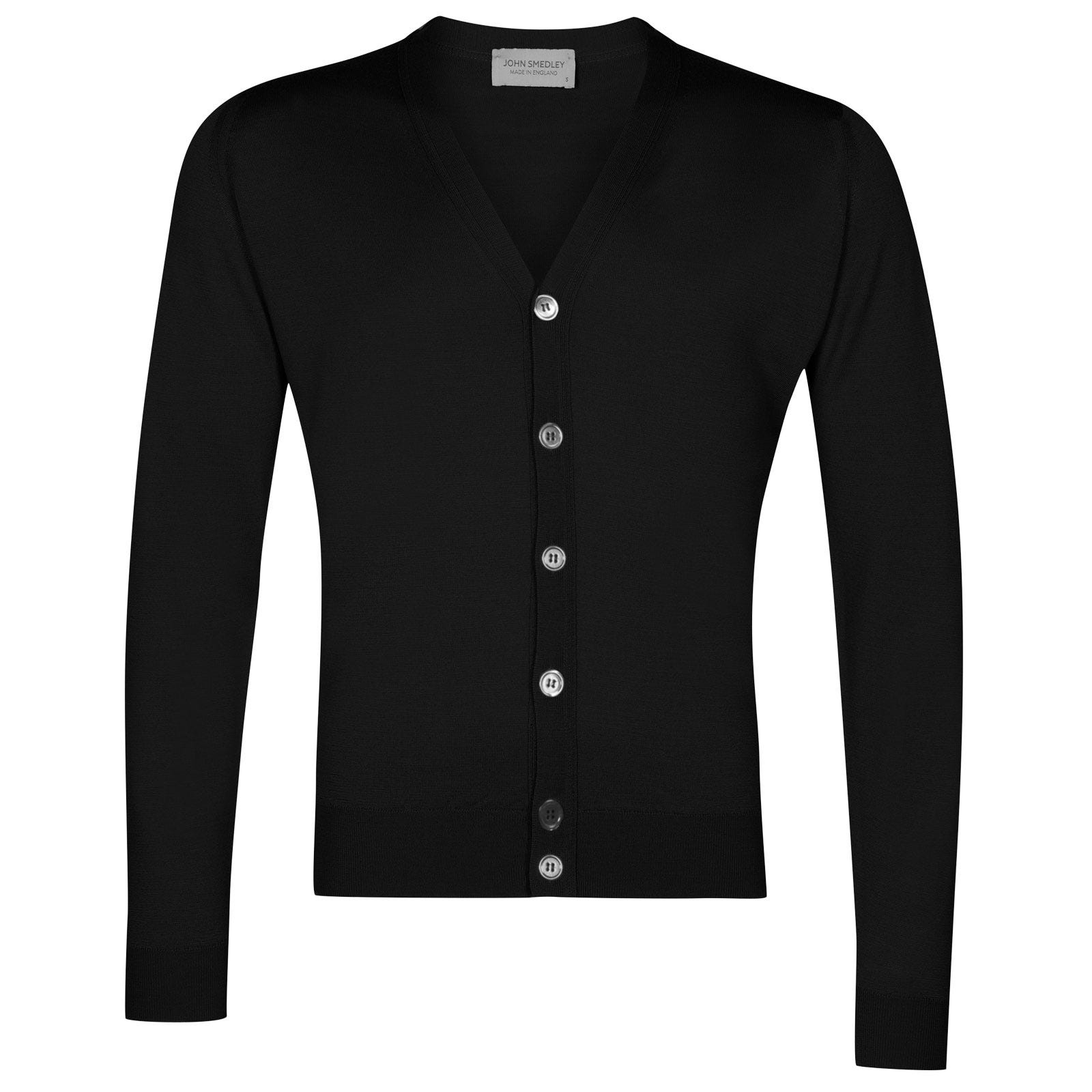 John Smedley naples Merino Wool Cardigan in Black-XXL