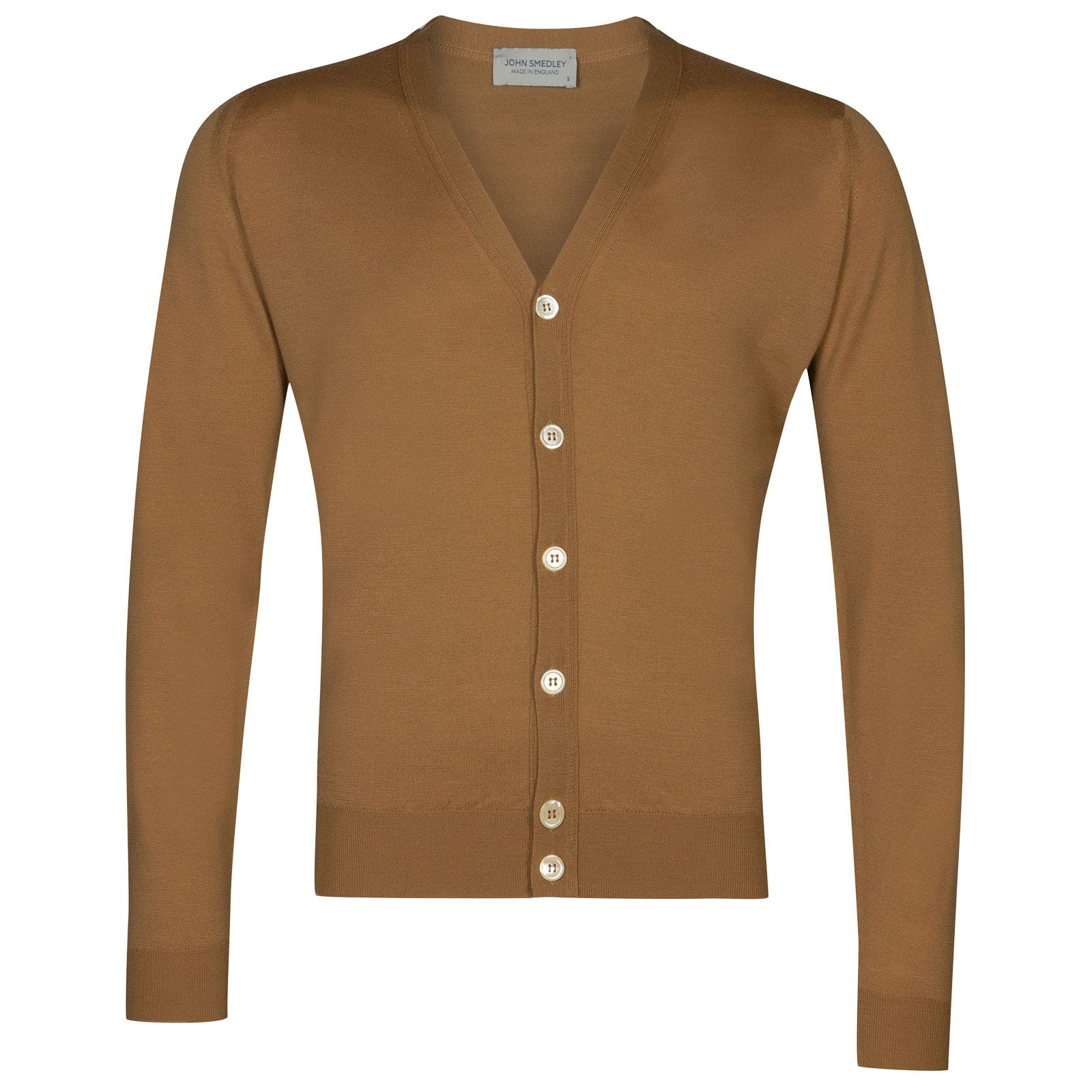 John Smedley naples Merino Wool Cardigan in Camel-XL
