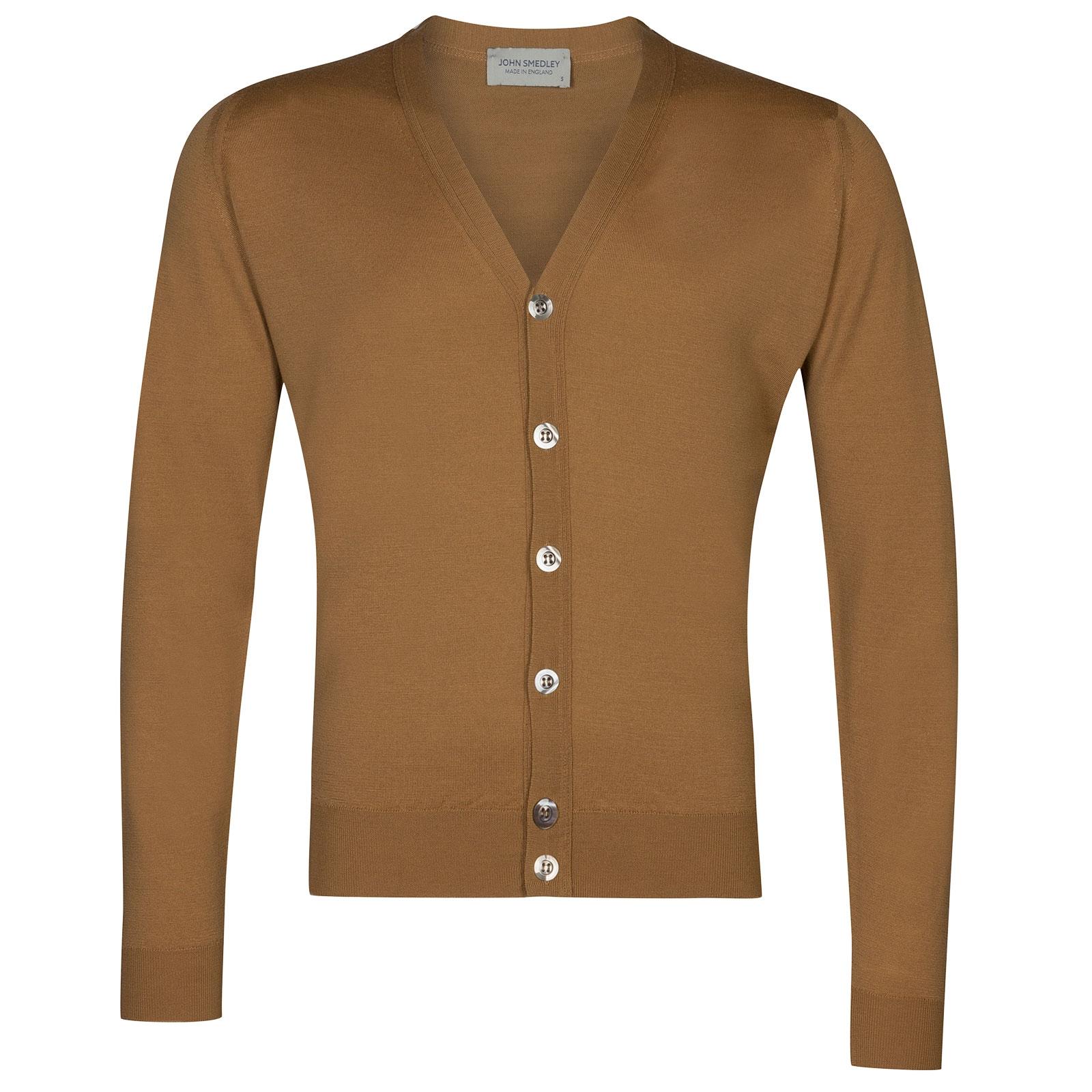 John Smedley Naples Merino Wool Cardigan in Camel-XL