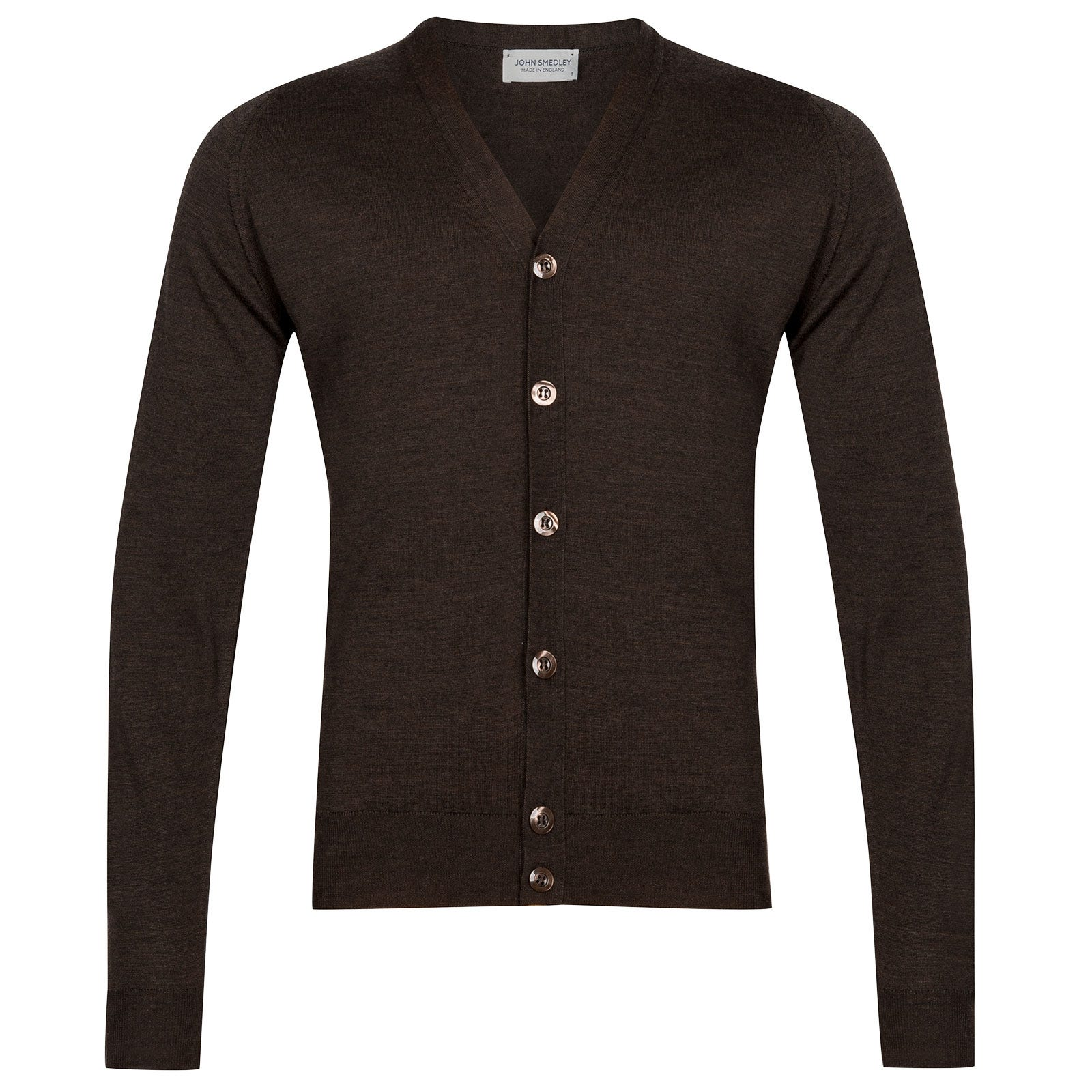 John Smedley Naples Merino Wool Cardigan in Chestnut-M