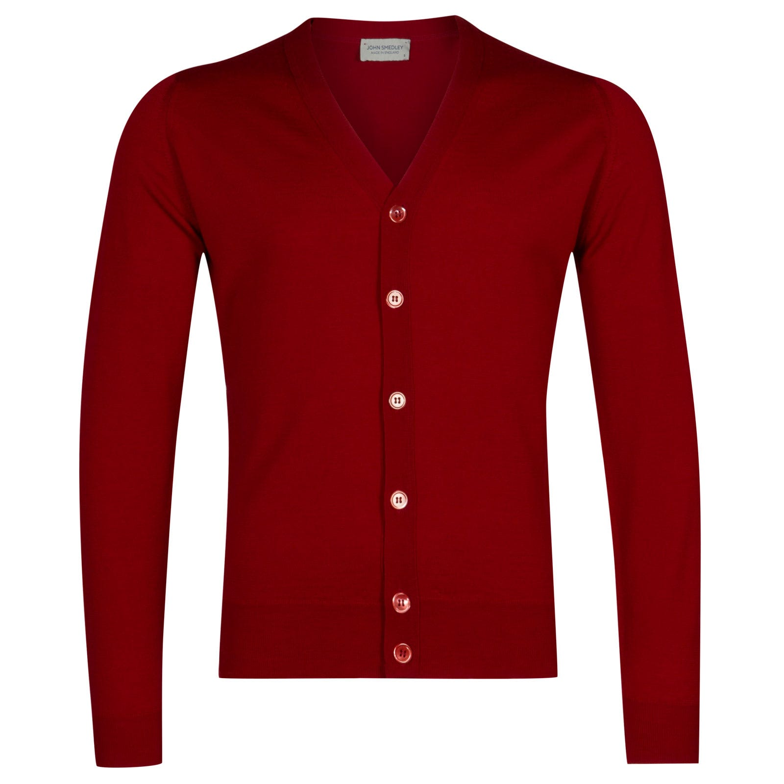 John Smedley naples Merino Wool Cardigan in Crimson Forest-M