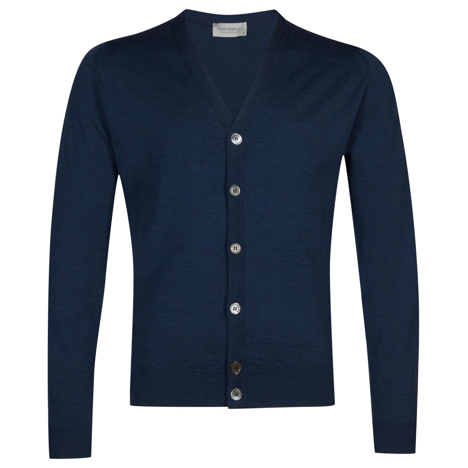 John Smedley Naples Merino Wool Cardigan in Indigo-XL