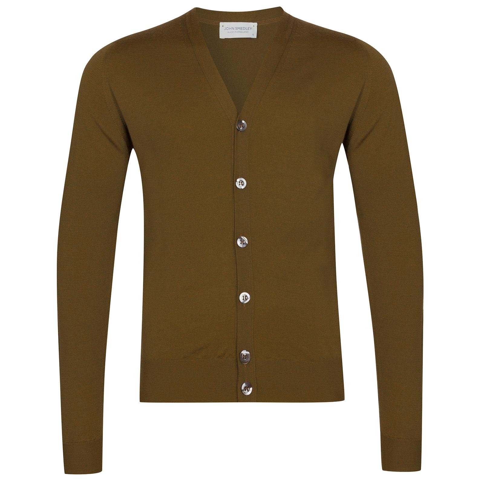 John Smedley Naples Merino Wool Cardigan in Khaki-XL