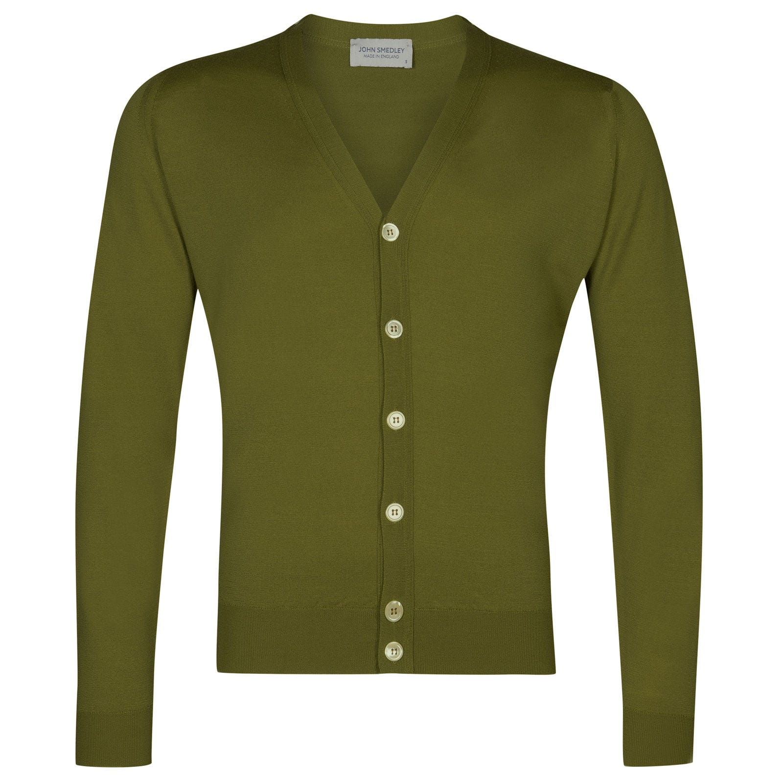 John Smedley naples Merino Wool Cardigan in Lumsdale Green-M