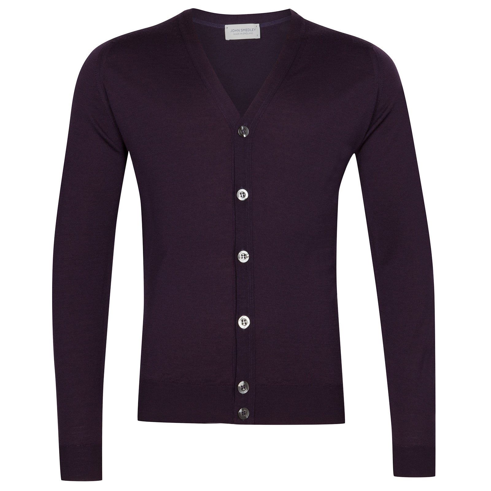 John Smedley Naples Merino Wool Cardigan in Mystic Purple-L