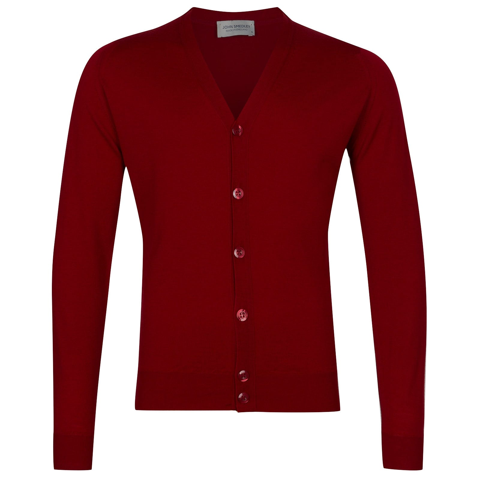 John Smedley Naples Merino Wool Cardigan in Thermal Red-L