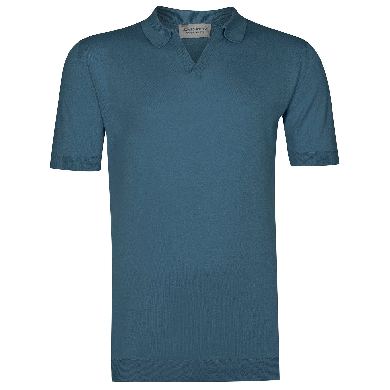 John Smedley Noah Sea Island Cotton Shirt in Bias Blue-XXL
