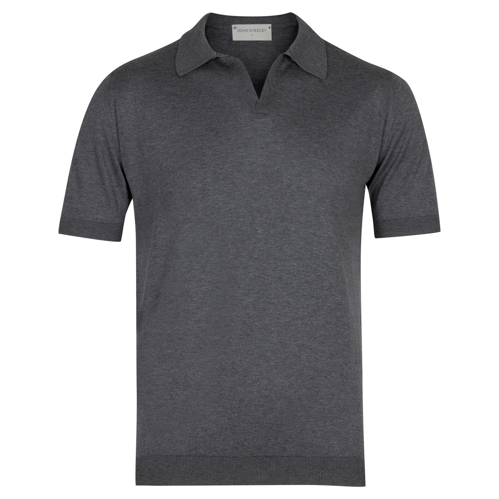 John Smedley Noah Sea Island Cotton Shirt in Charcoal-XXL