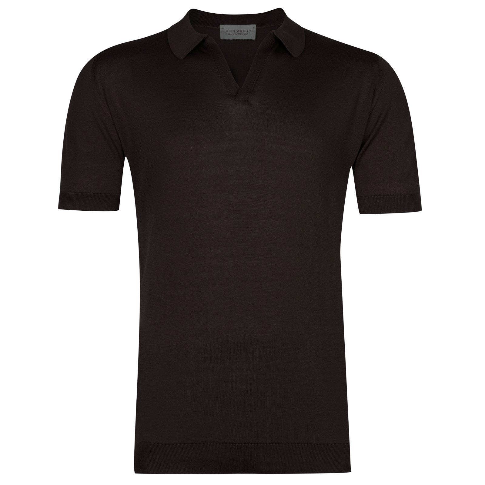 John Smedley Noah Sea Island Cotton Shirt in Dark Leather-XL