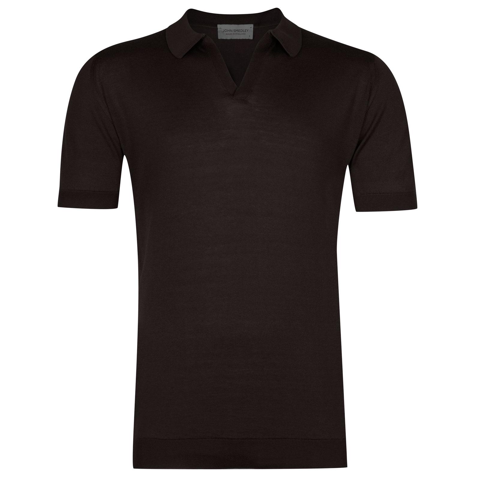 John Smedley Noah in Dark Leather Shirt-MED
