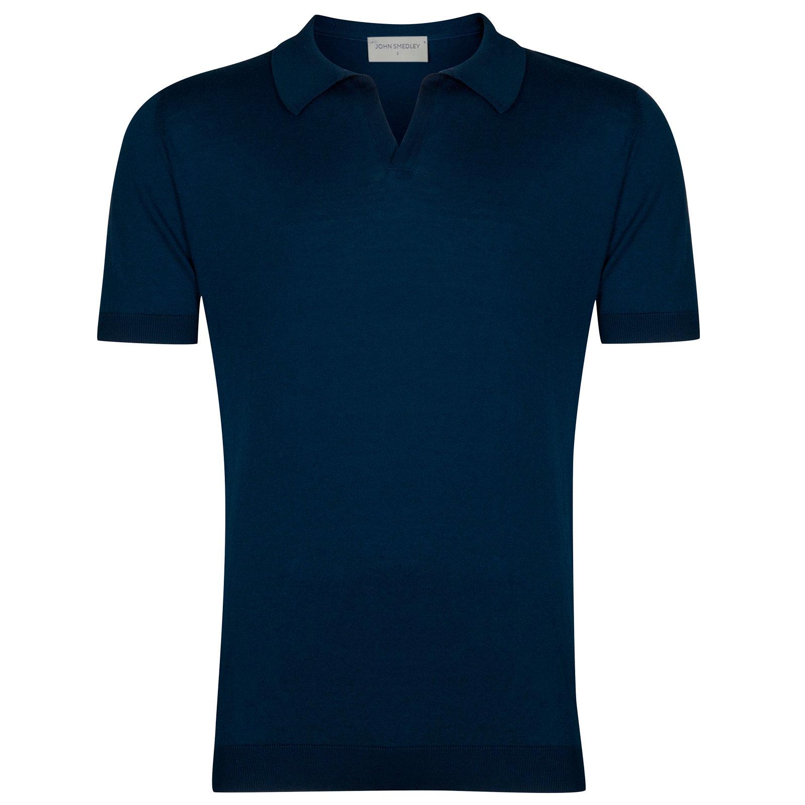 John Smedley Noah Sea Island Cotton Shirt in Indigo-S