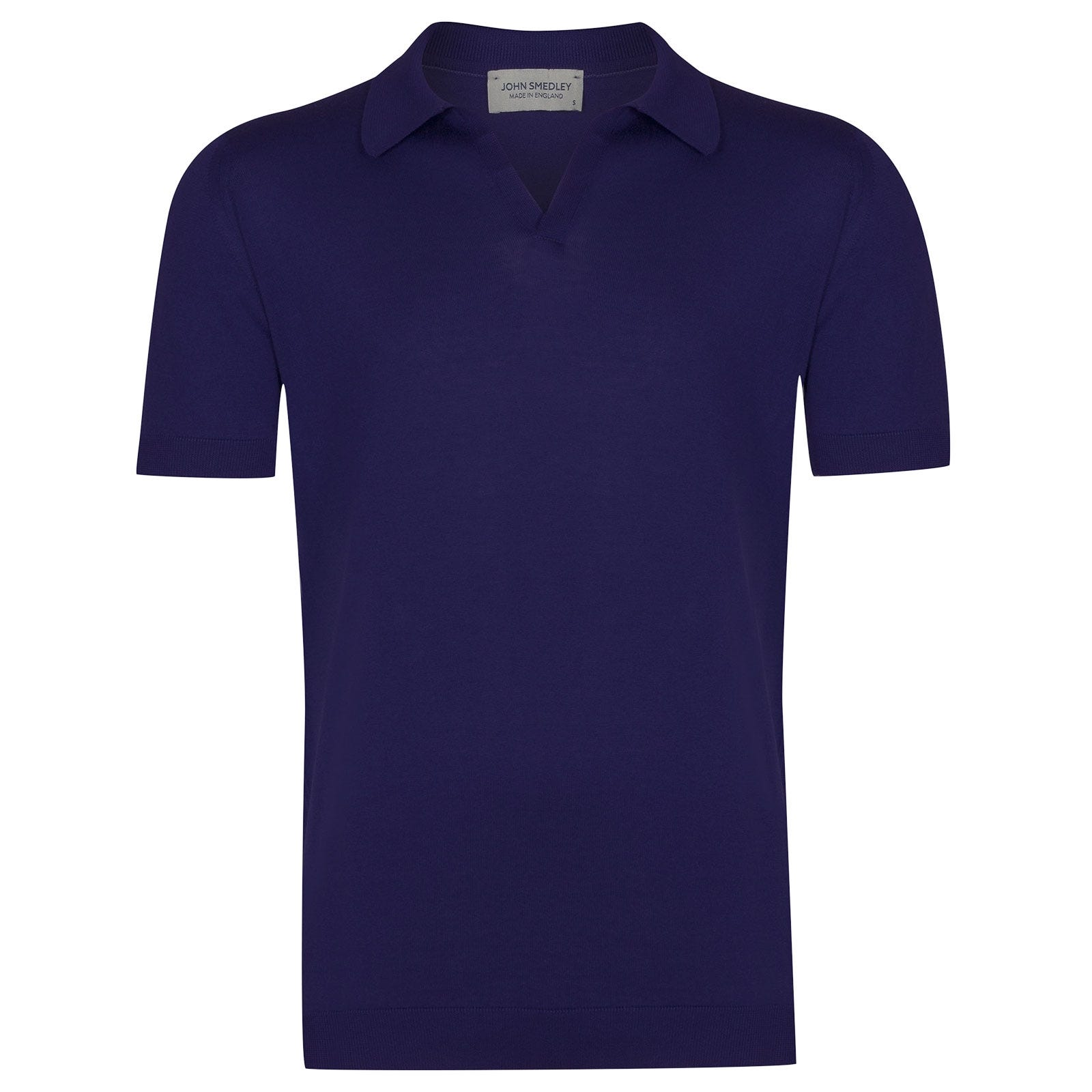 John Smedley Noah Sea Island Cotton Shirt in Serge Blue-S