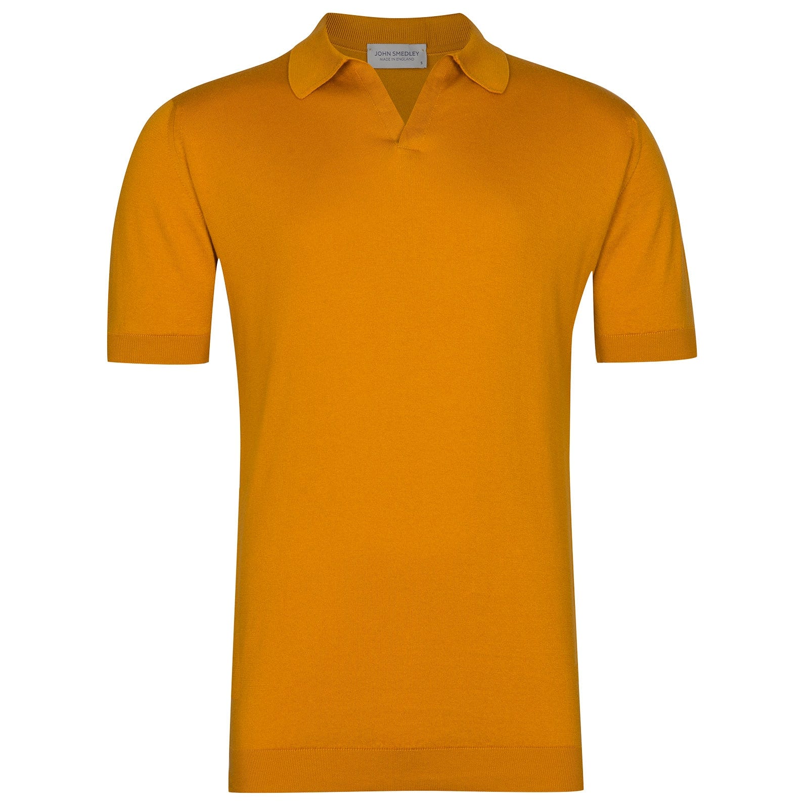 John Smedley Noah Sea Island Cotton Shirt in Topstitch Orange-XXL