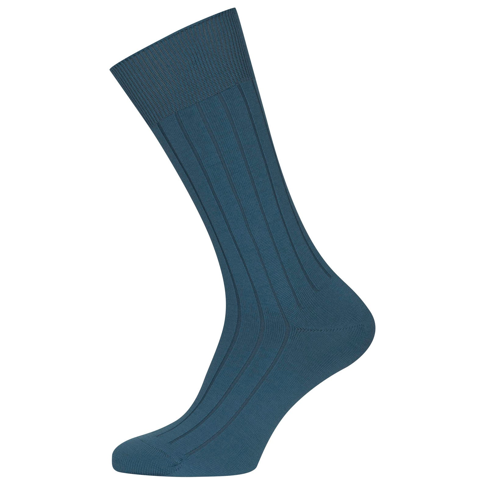 John Smedley Omega Merino Wool Socks in Bias Blue-S/M