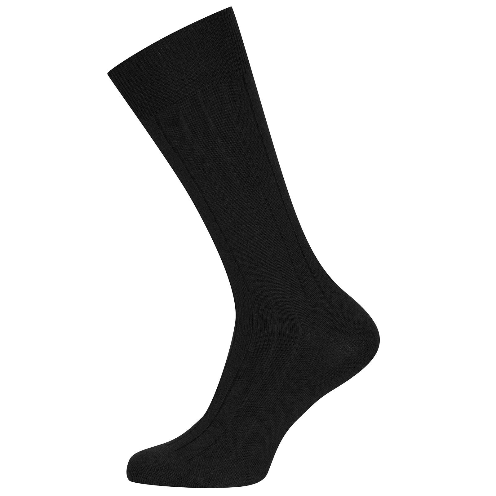 John Smedley Omega Merino Wool Socks in Black-M/L