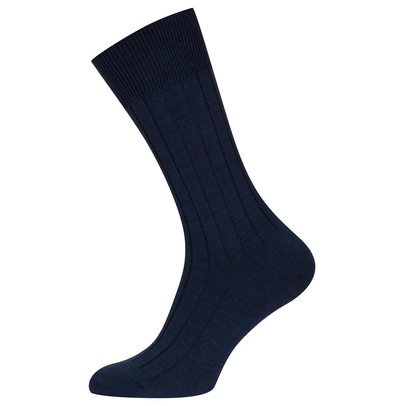 John Smedley Omega in Indigo Socks-M/L