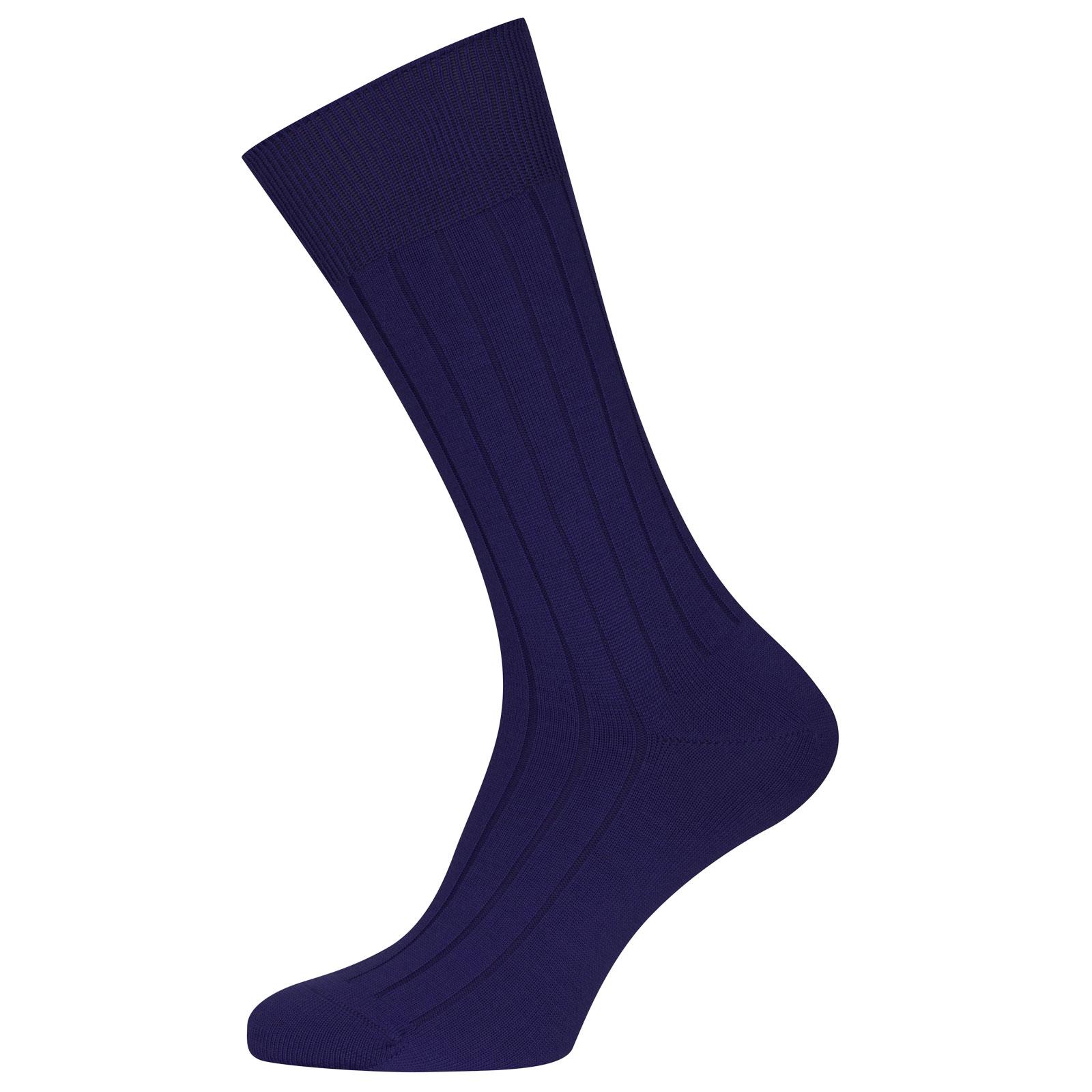 John Smedley Omega Merino Wool Socks in Serge Blue-S/M