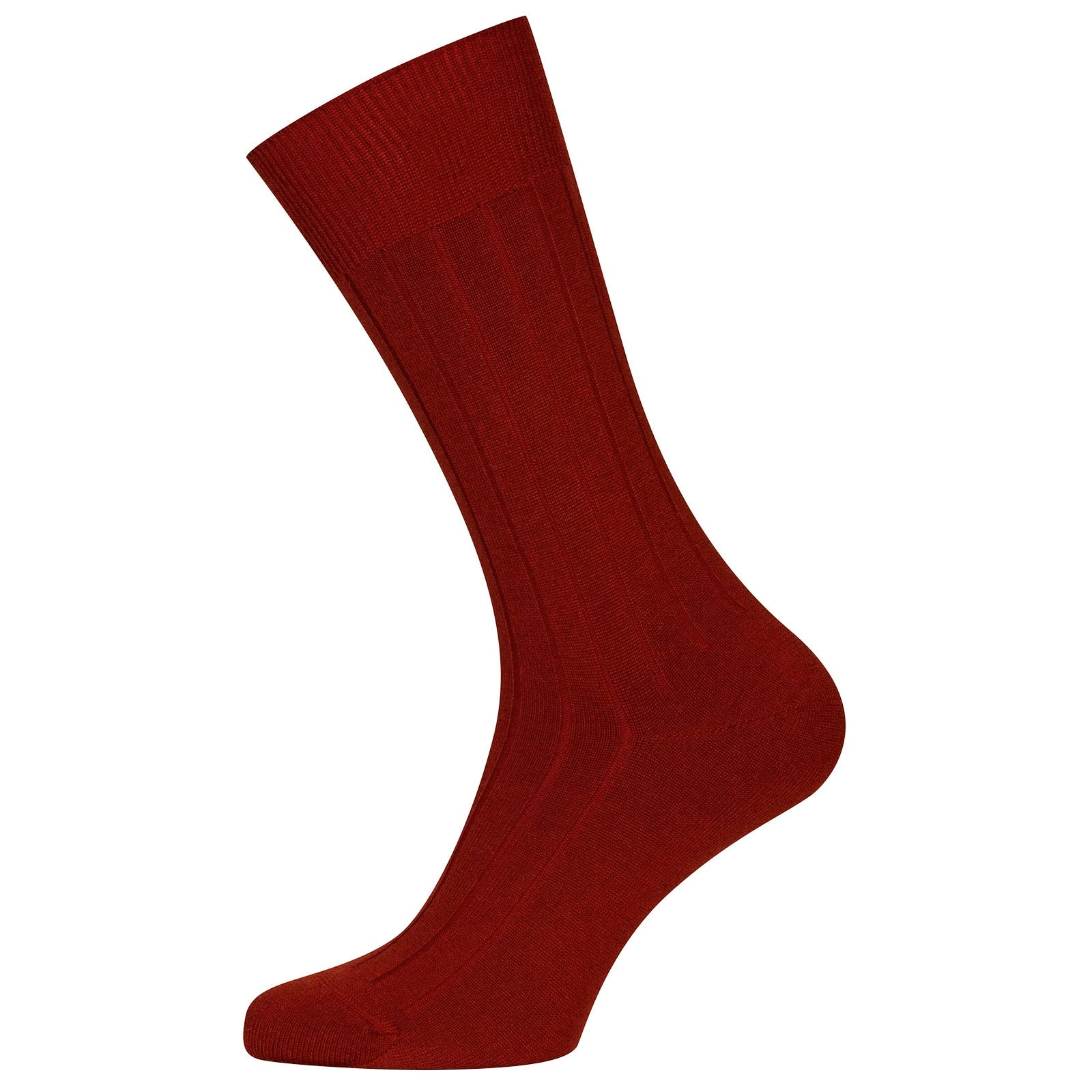 John Smedley Omega Sea Island Cotton Socks in Thermal Red-S/M