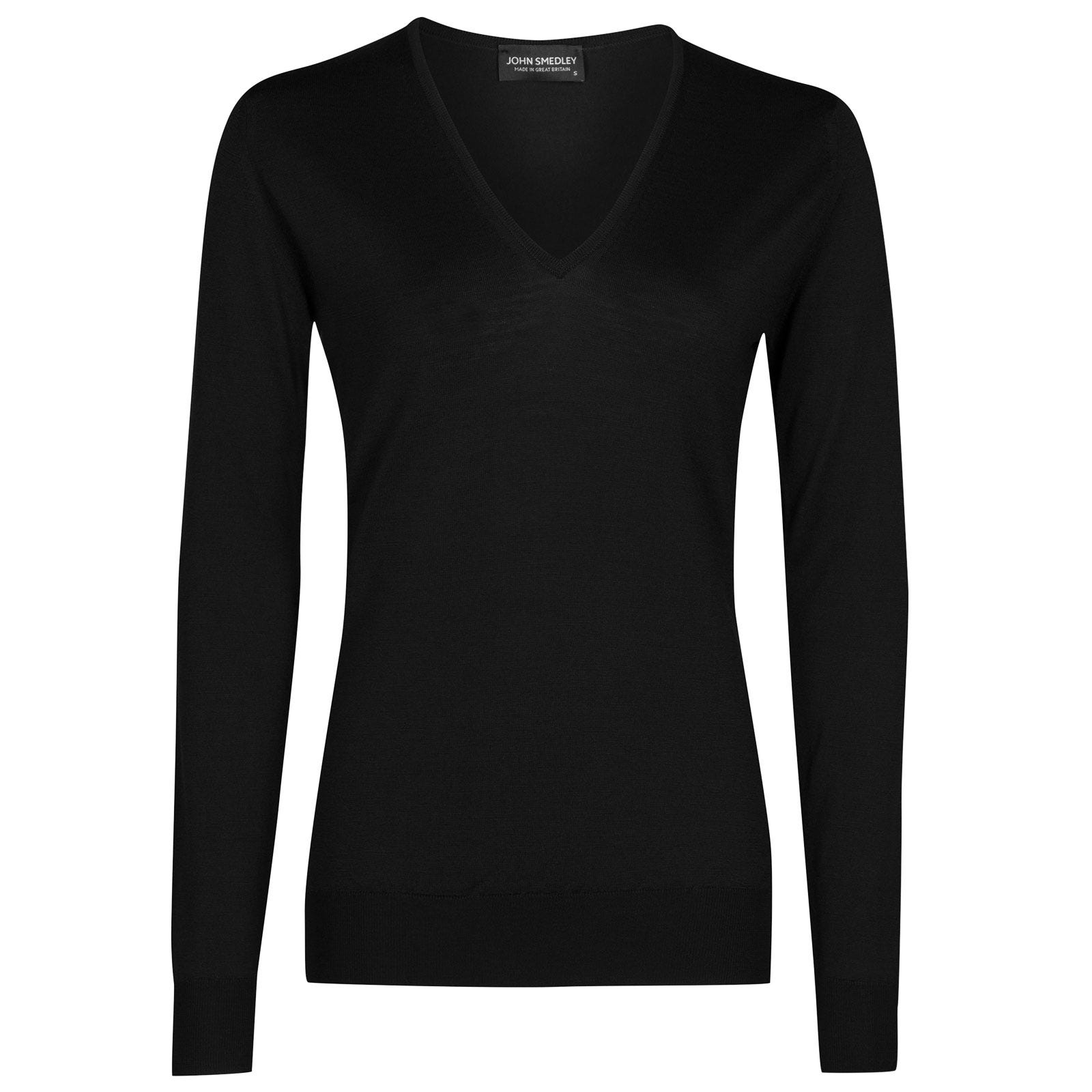 John Smedley orchid Merino Wool Sweater in Black-M