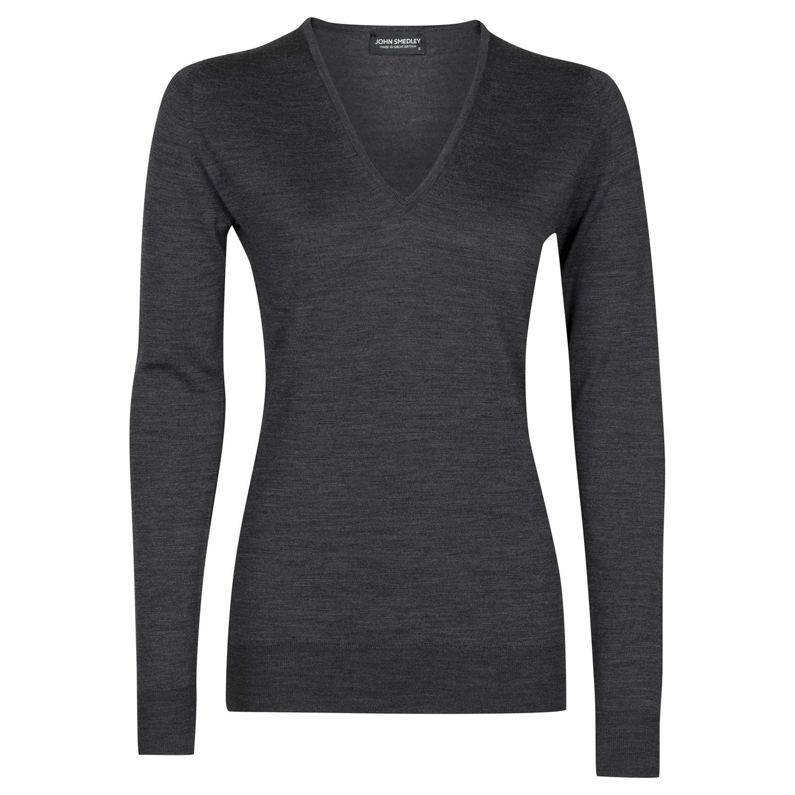 John Smedley orchid Merino Wool Sweater in Charcoal-S