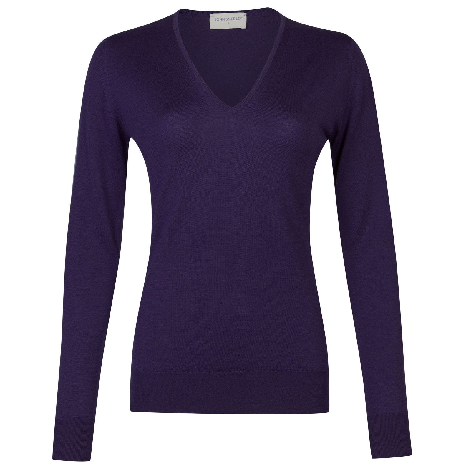 John Smedley orchid Merino Wool Sweater in Elderberry Purple-M