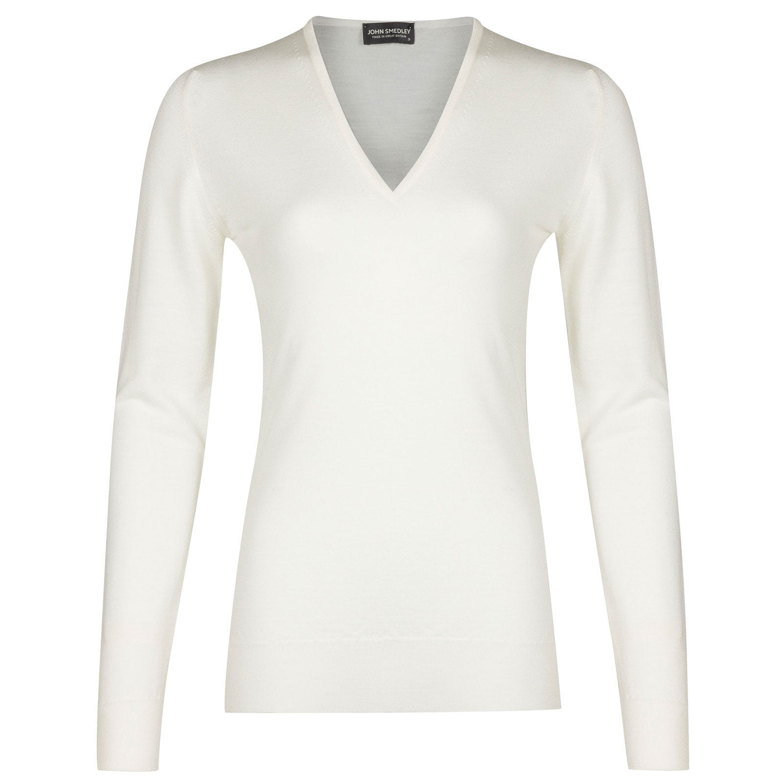 John Smedley Orchid Merino Wool Sweater in Snow White-L