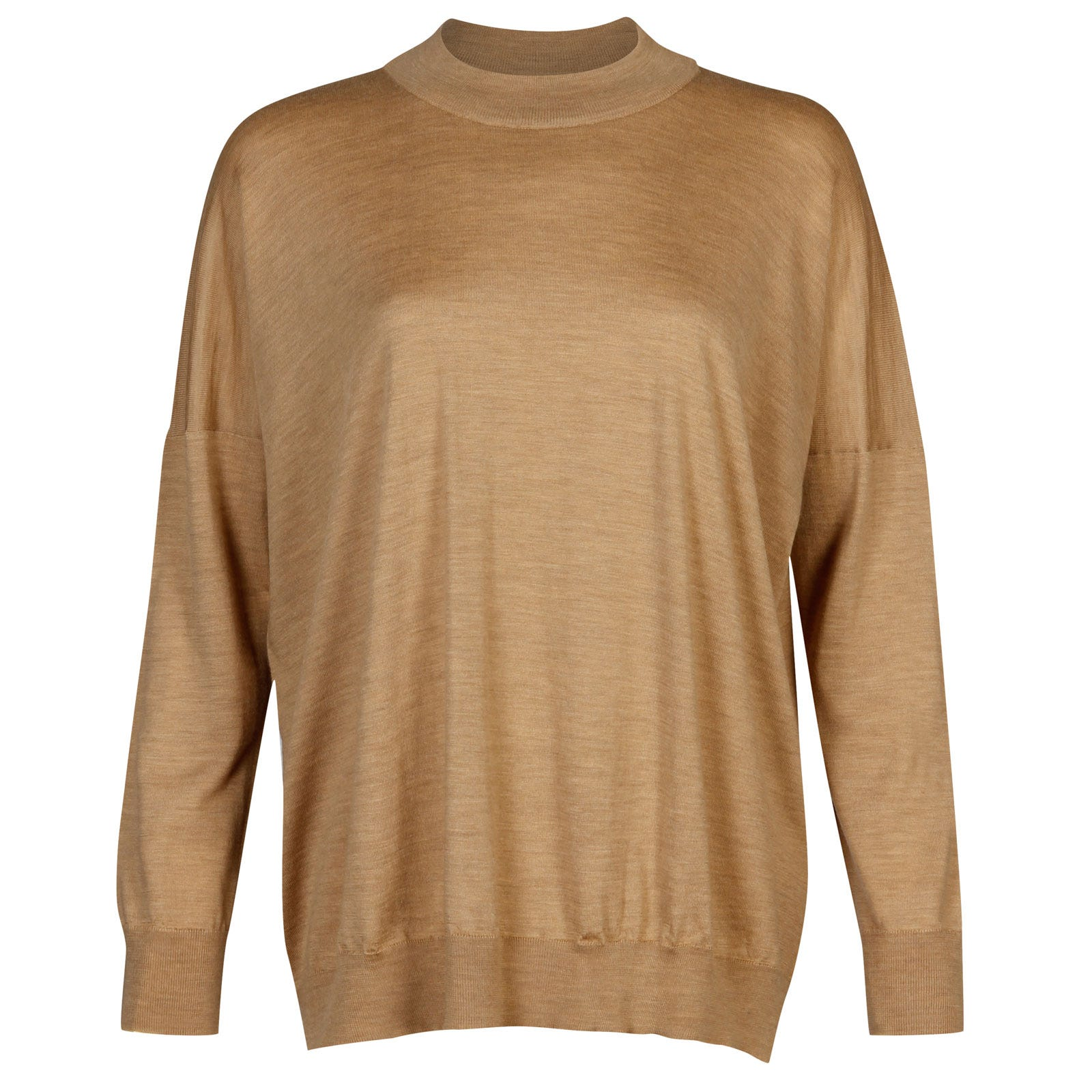 John Smedley Osha Merino Wool and Cashmere Sweater in Dark Camel-L