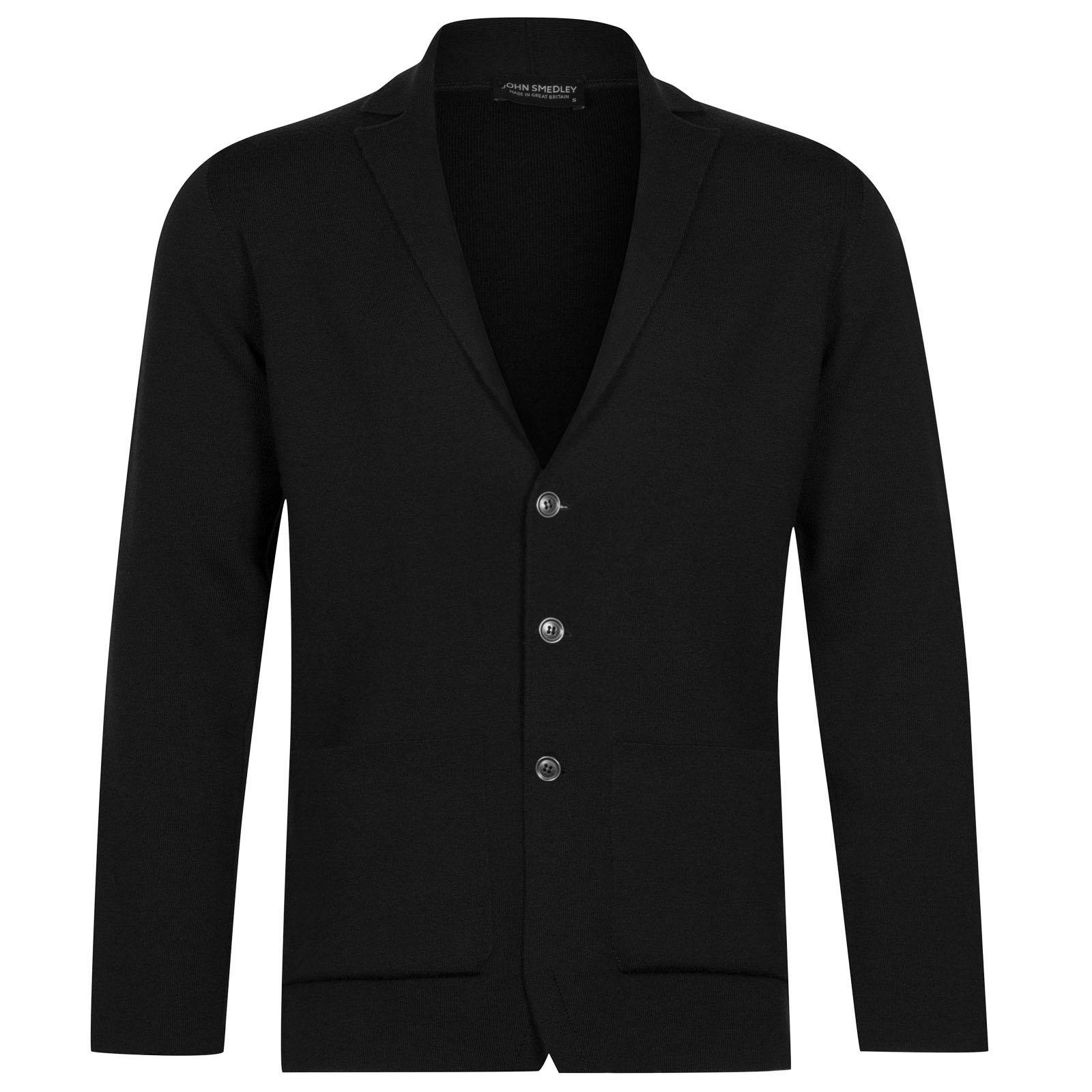 John Smedley Oxland Merino Wool Jacket in Black-XL