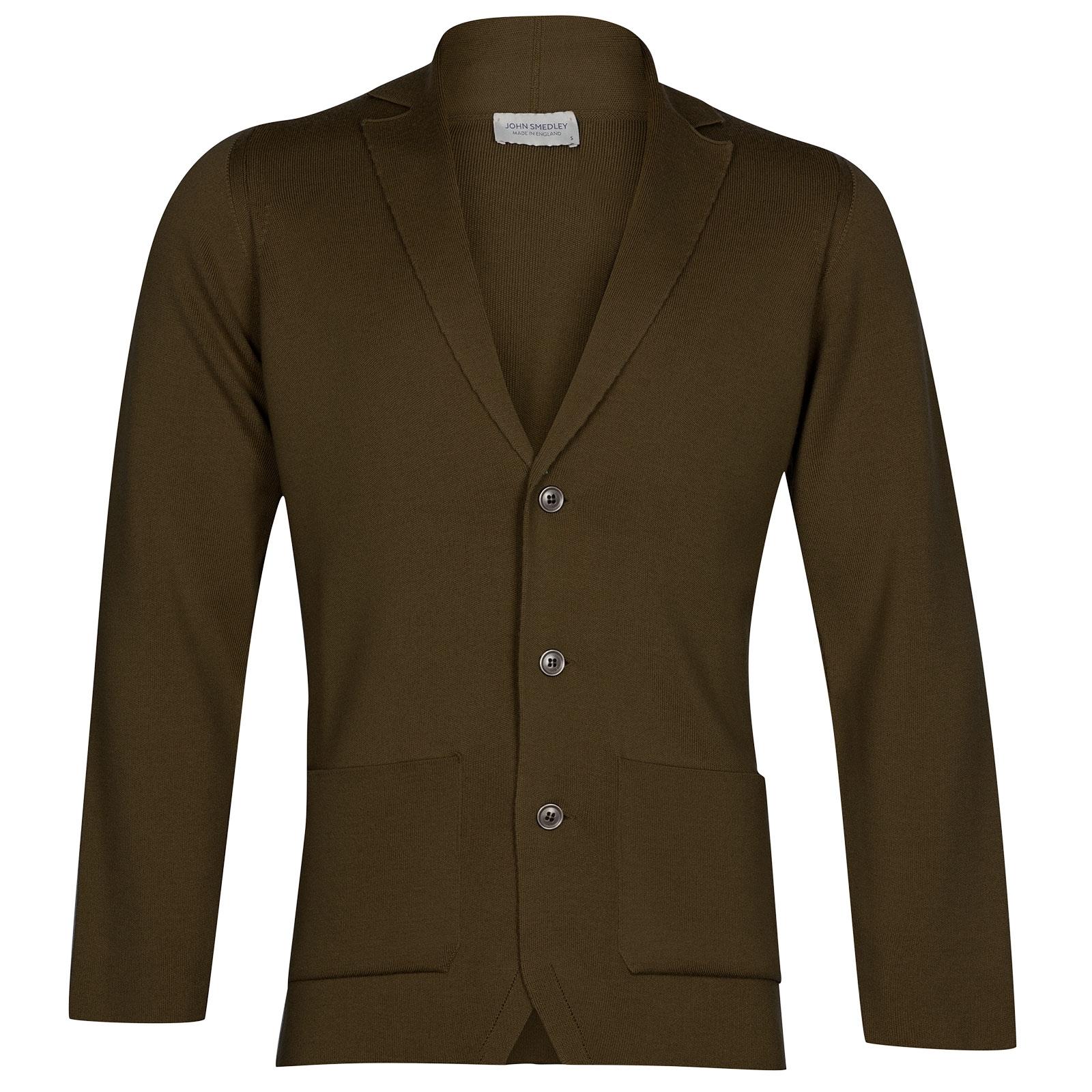 John Smedley Oxland Merino Wool Jacket in Khaki-S